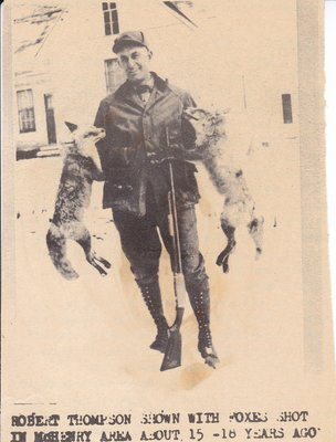 Robert Thompson with Foxes Hunted in About 1930