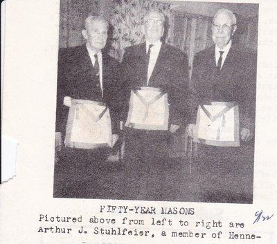 Arthur Stuhlfeier With Other 50 Year Masons