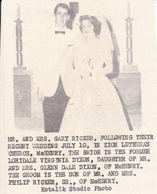 Wedding: Mr & Mrs Gary Ricker