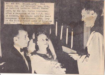 Wedding: Mr & Mrs Leonard Levy