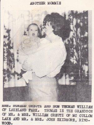 Mrs Ronald Creutz with son Thomas