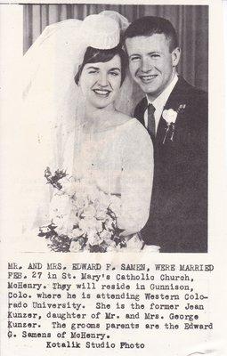 Wedding: Mr & Mrs Edward Samen