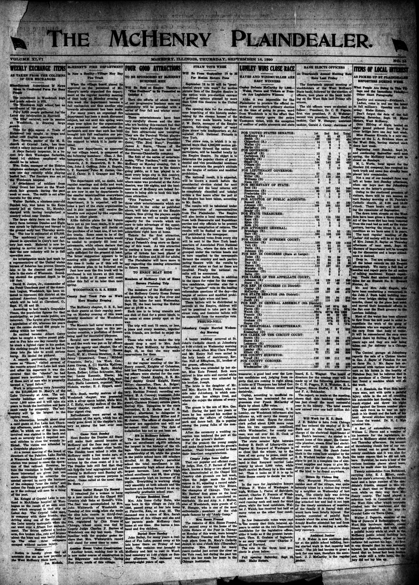 McHenry Plaindealer (McHenry, IL), 16 Sep 1920