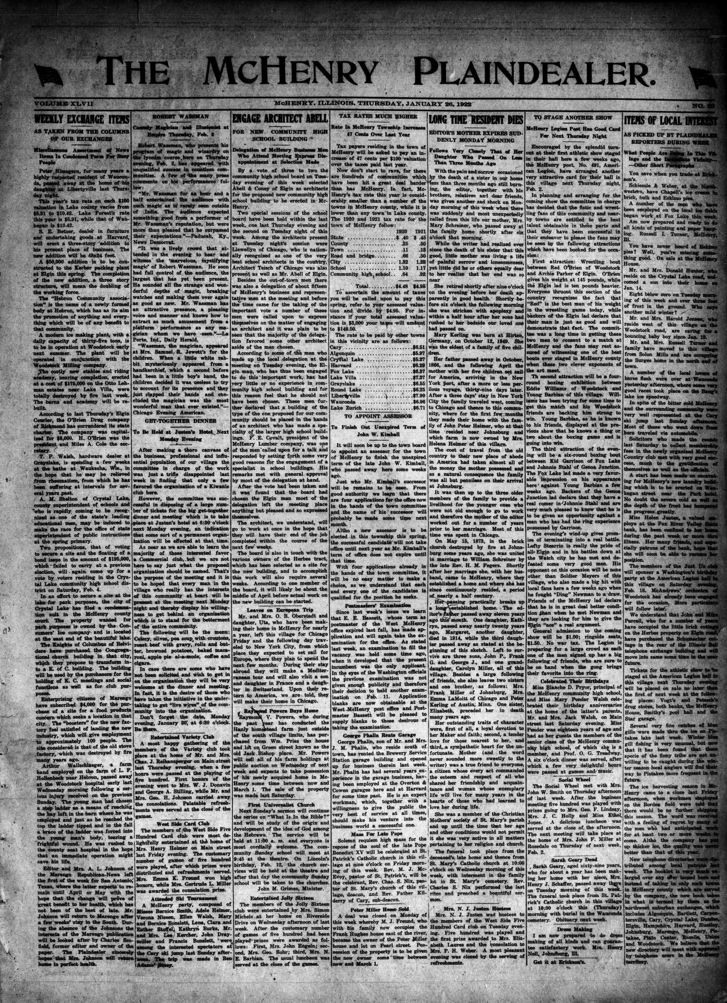 McHenry Plaindealer (McHenry, IL), 26 Jan 1922
