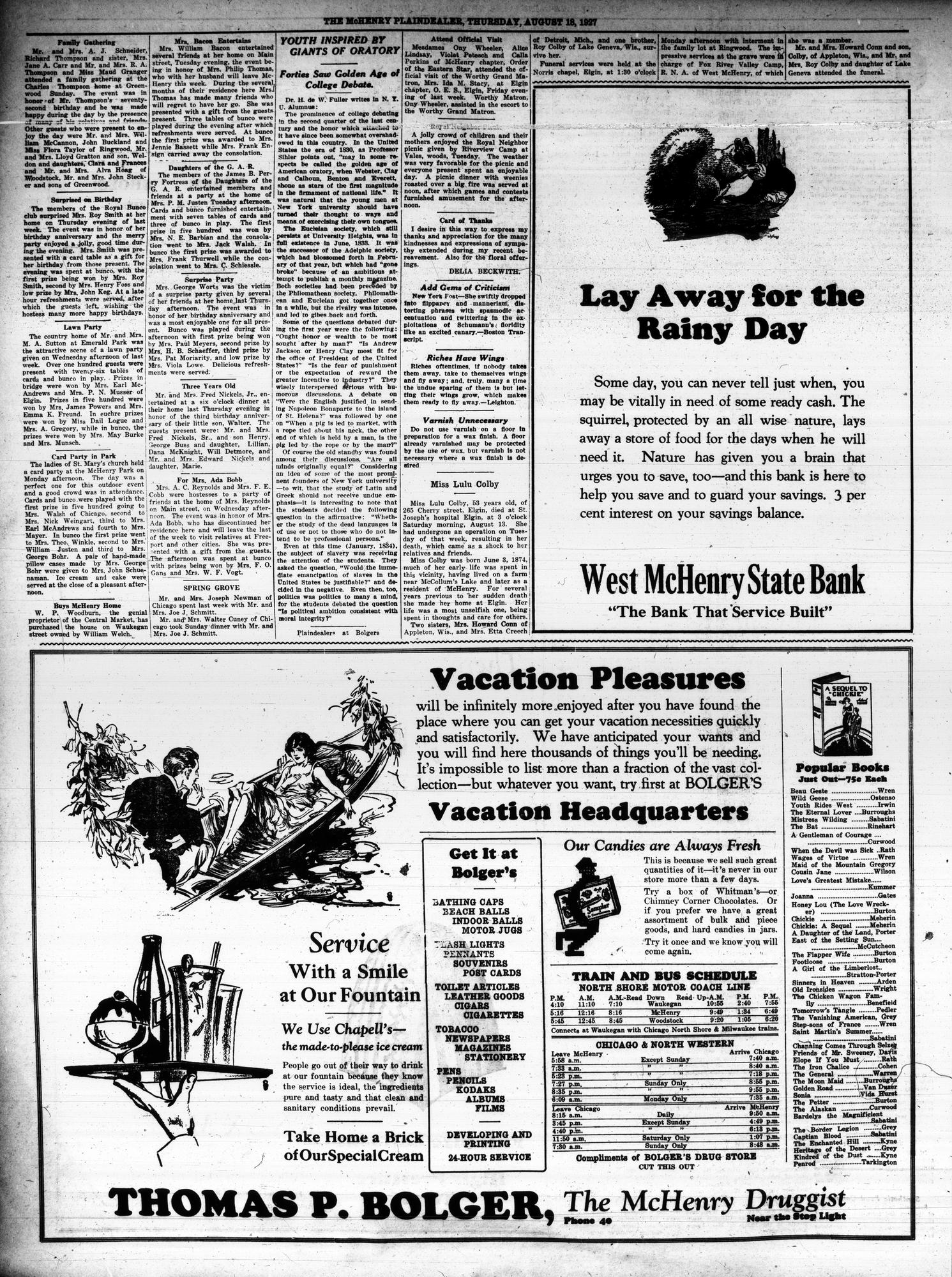 McHenry Plaindealer (McHenry, IL), 18 Aug 1927