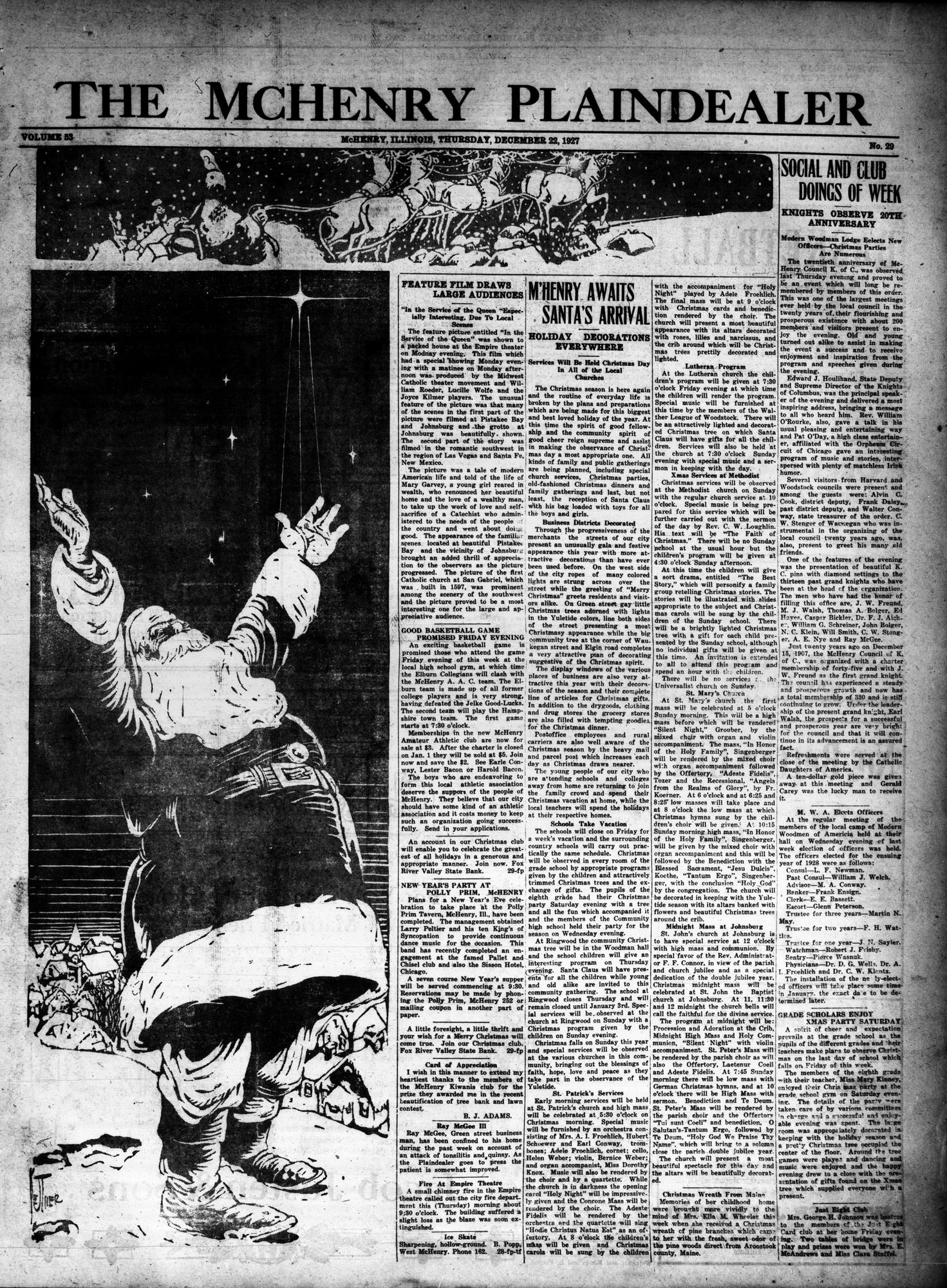 McHenry Plaindealer (McHenry, IL), 22 Dec 1927