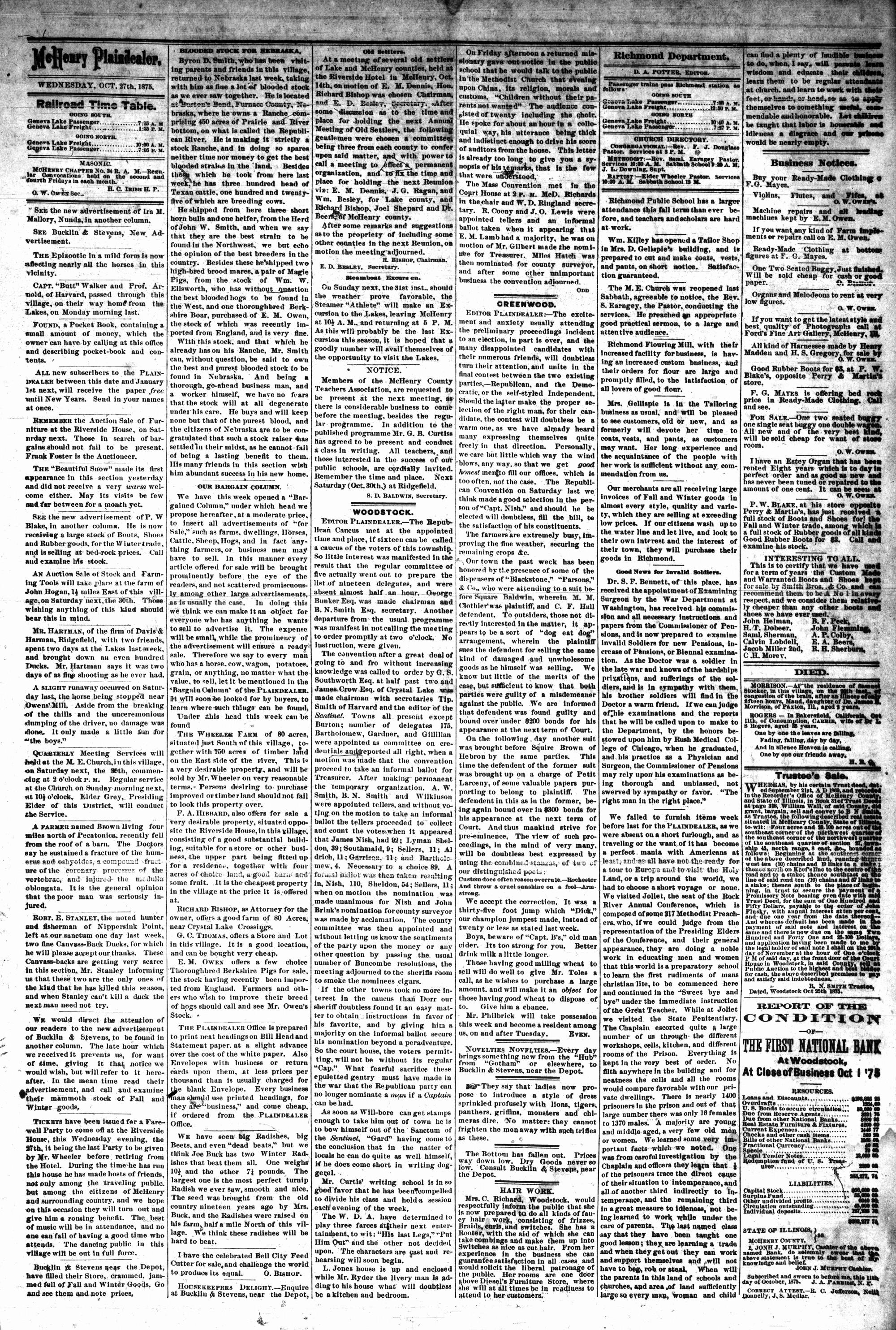 McHenry Plaindealer (McHenry, IL), 27 Oct 1875