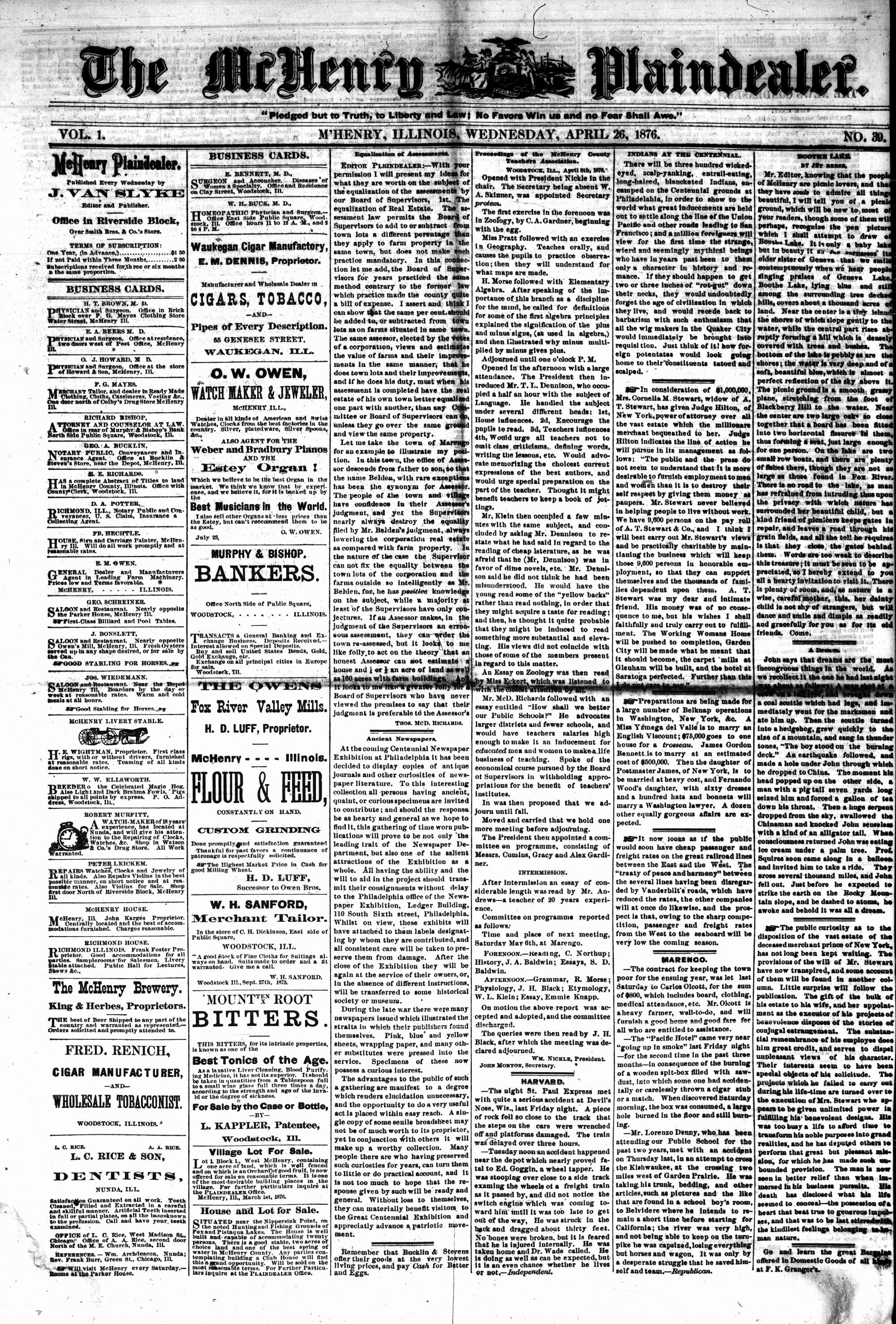 McHenry Plaindealer (McHenry, IL), 26 Apr 1876