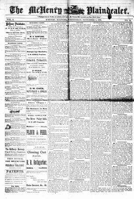 McHenry Plaindealer (McHenry, IL), 1 Nov 1876