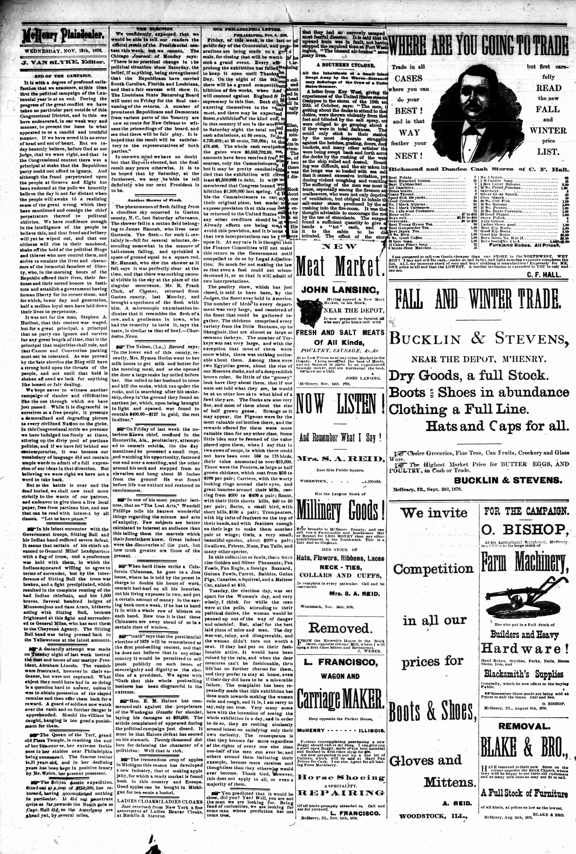 McHenry Plaindealer (McHenry, IL), 15 Nov 1876
