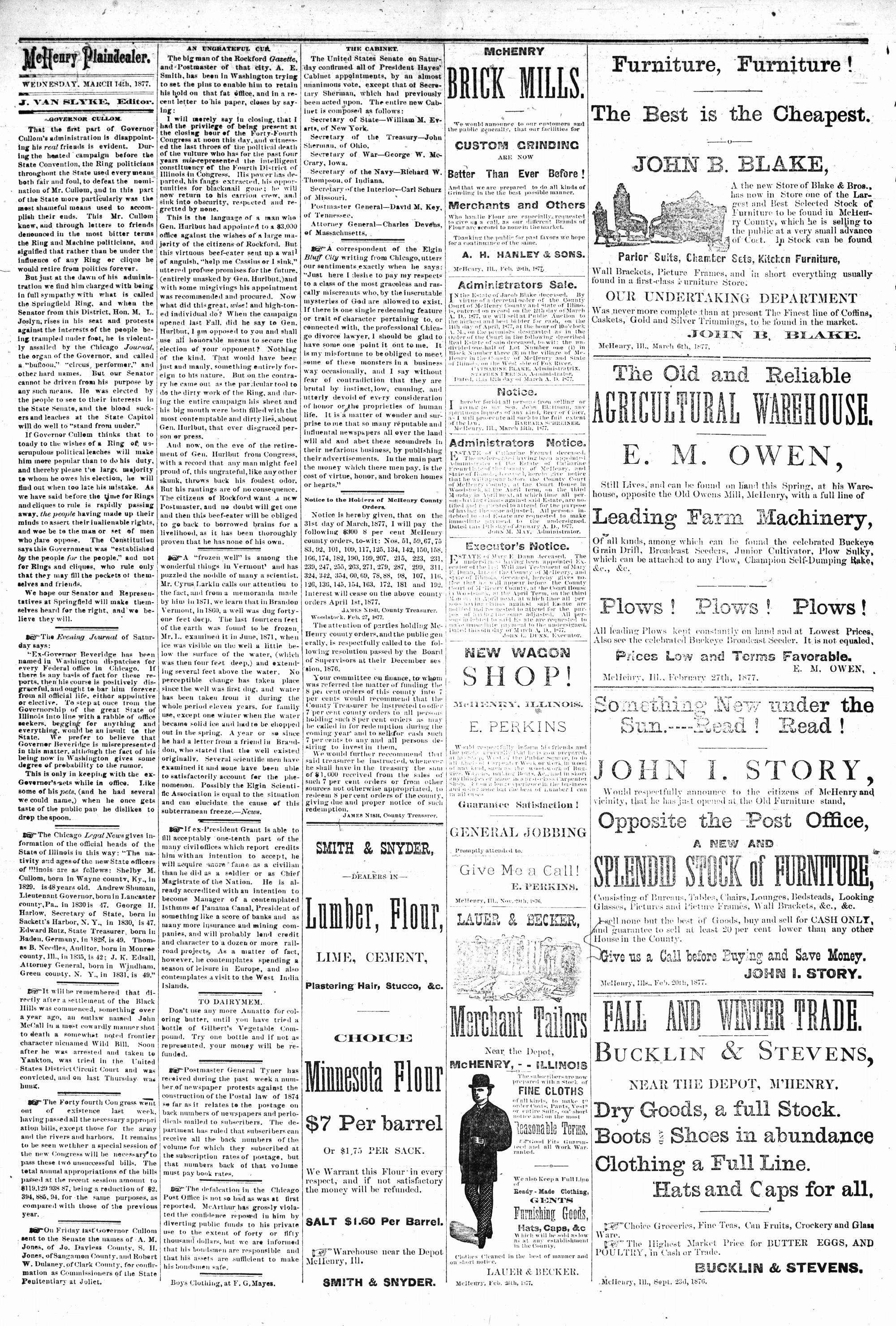 McHenry Plaindealer (McHenry, IL), 14 Mar 1877