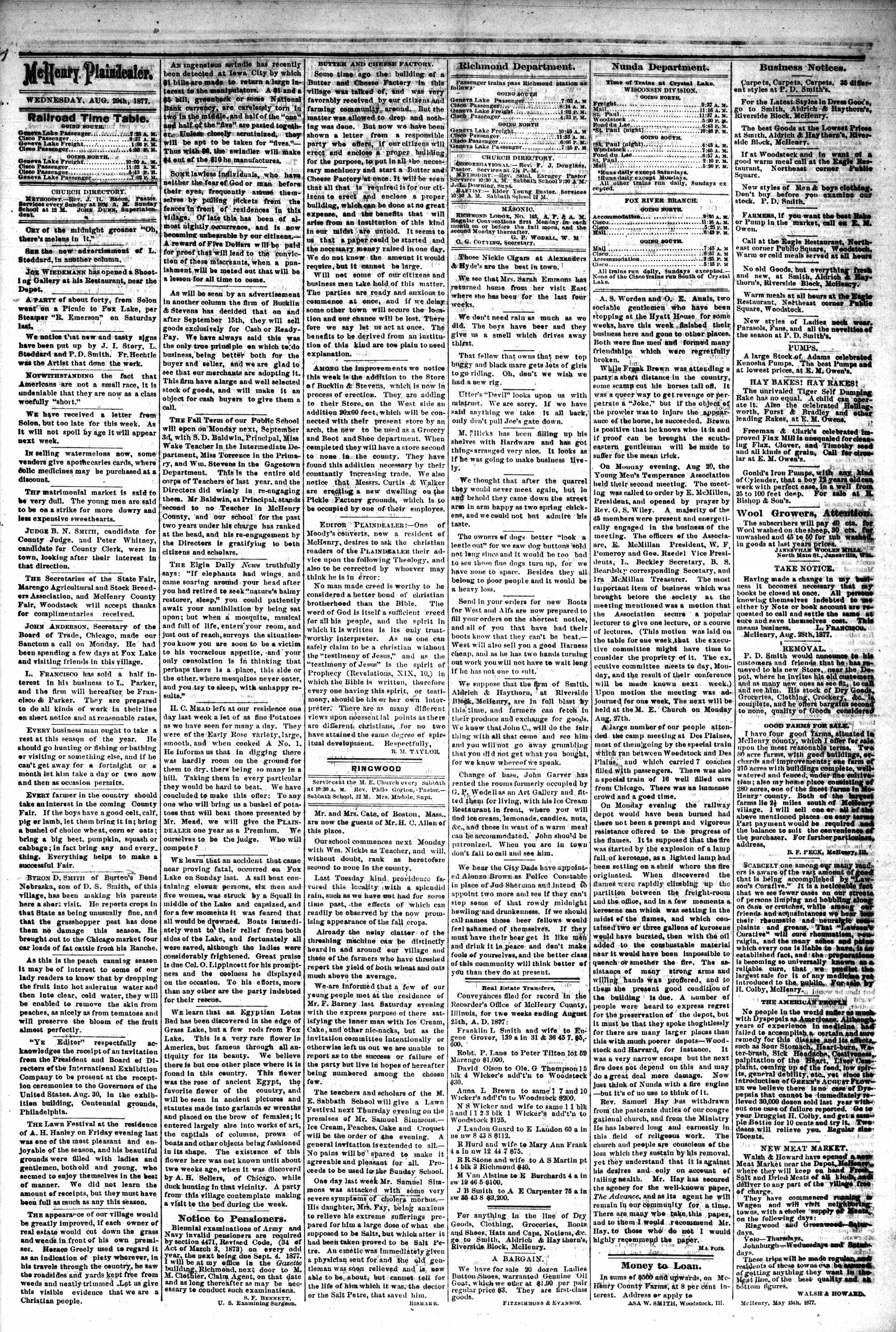 McHenry Plaindealer (McHenry, IL), 29 Aug 1877