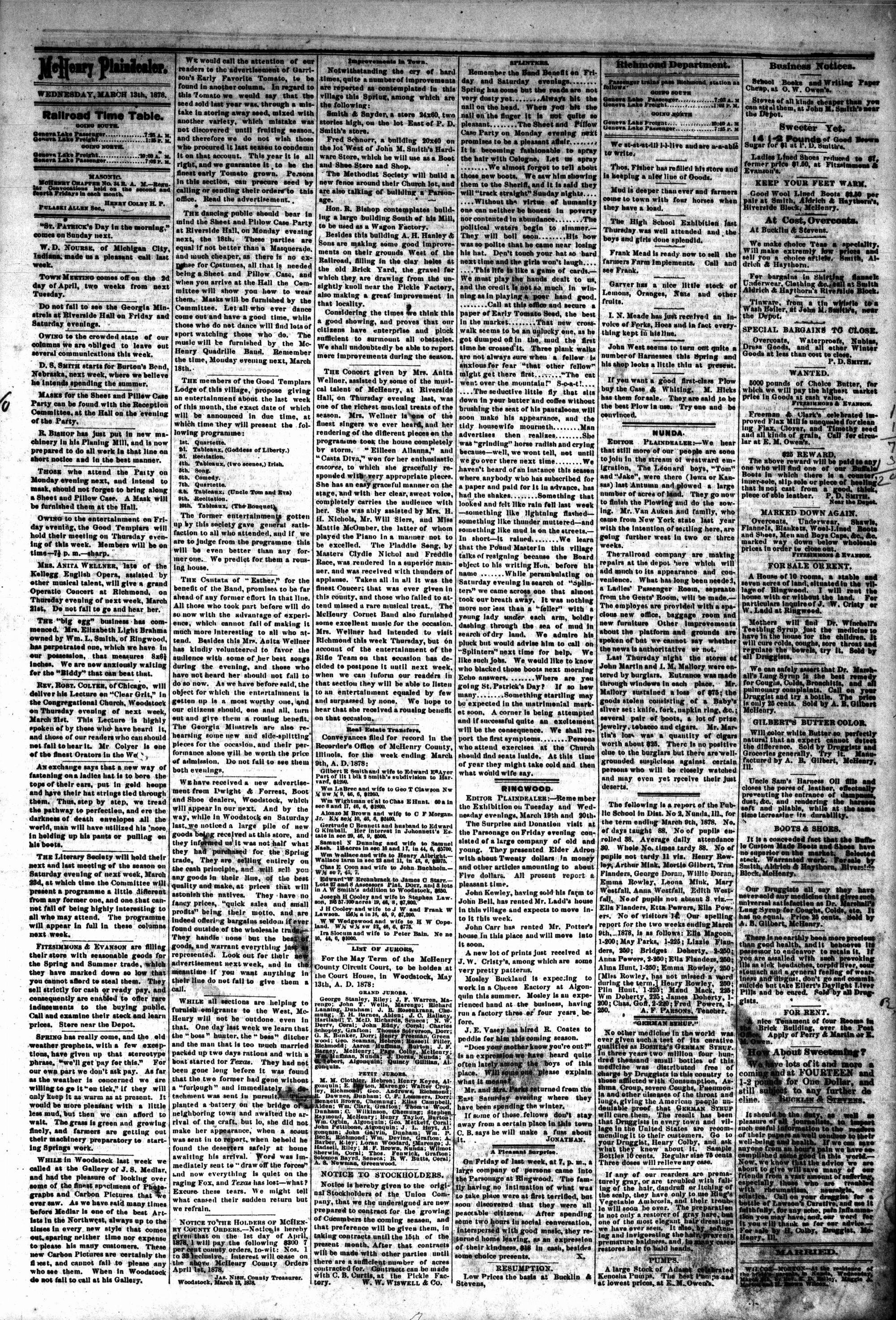 McHenry Plaindealer (McHenry, IL), 13 Mar 1878