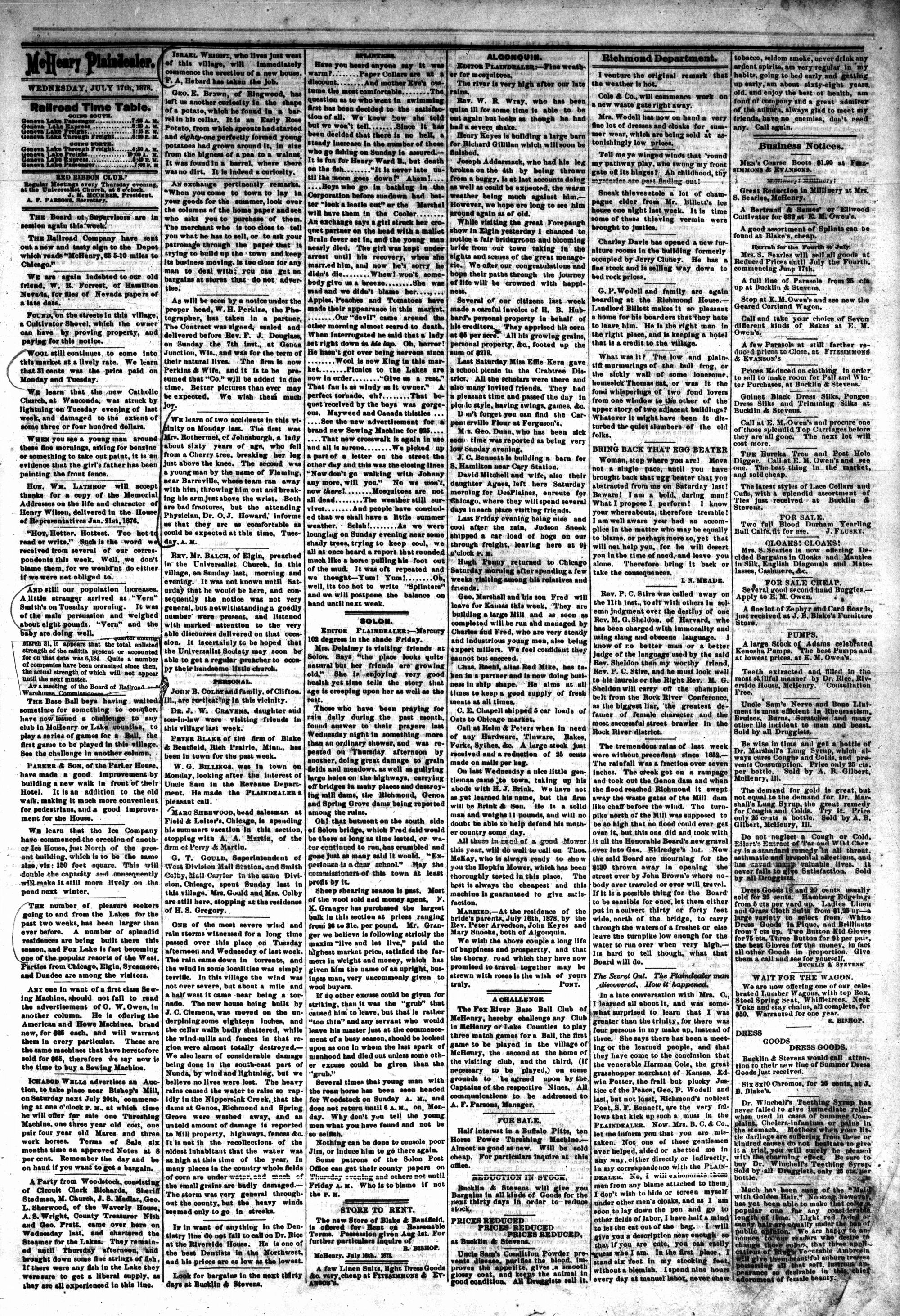 McHenry Plaindealer (McHenry, IL), 17 Jul 1878