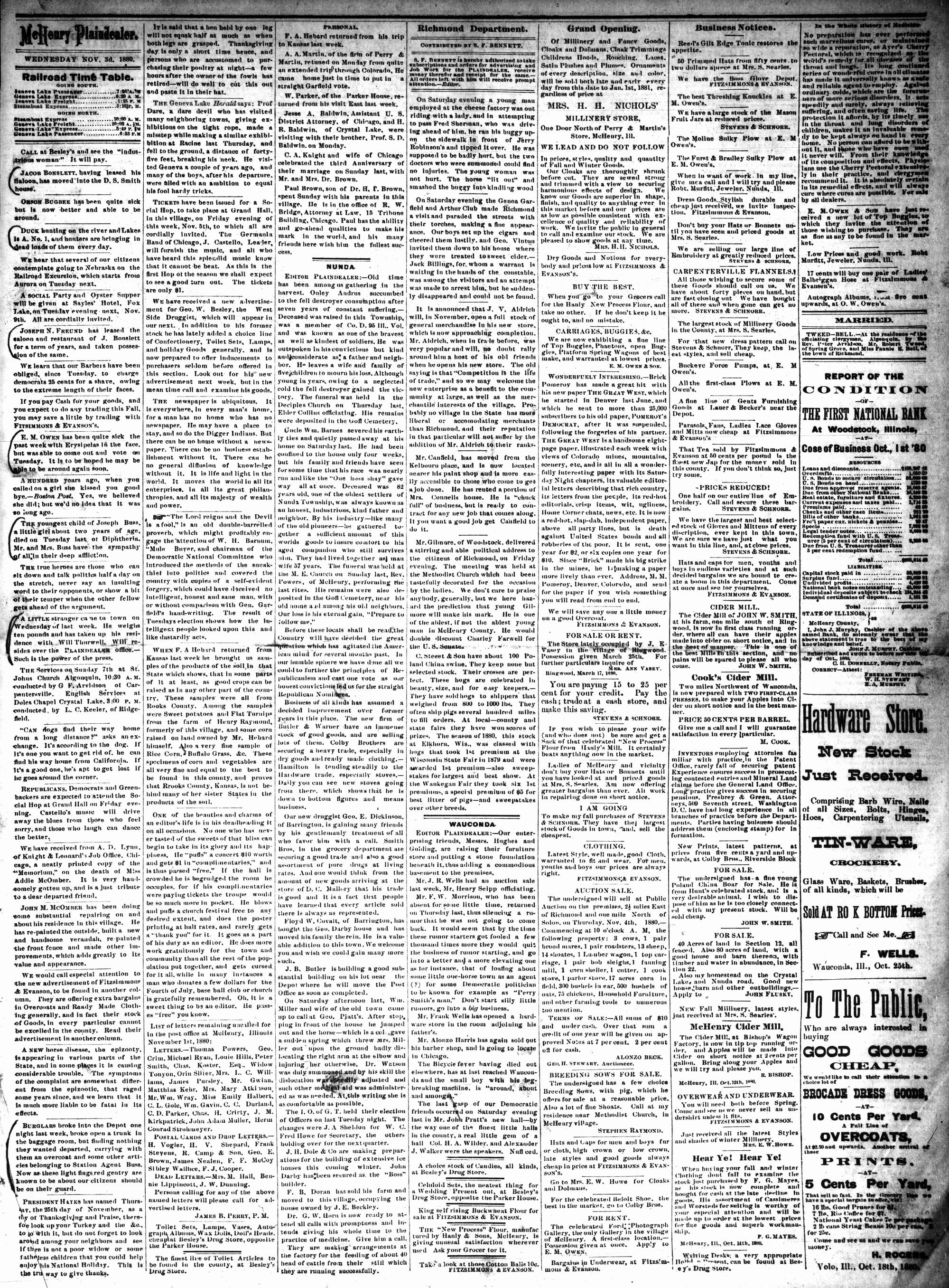 McHenry Plaindealer (McHenry, IL), 3 Nov 1880