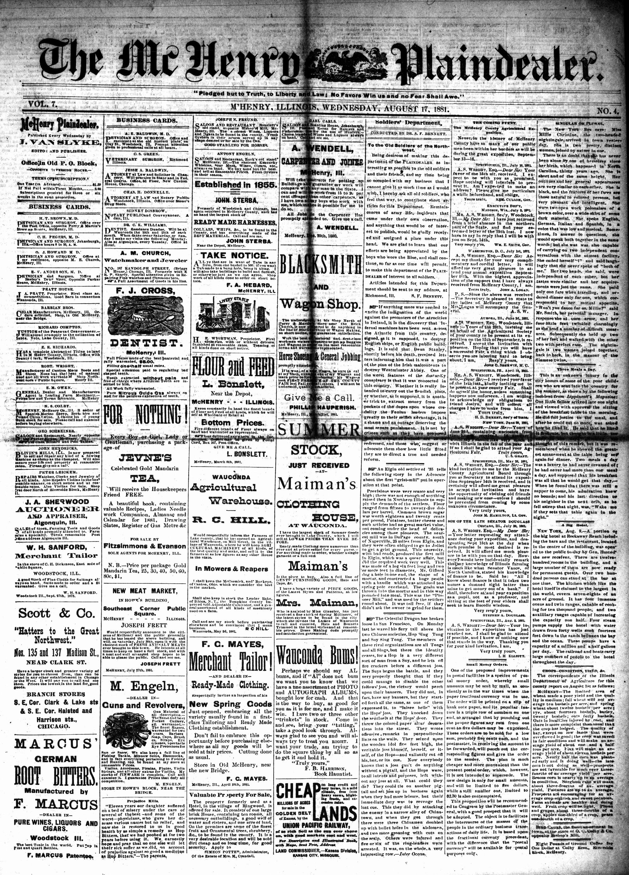 McHenry Plaindealer (McHenry, IL), 17 Aug 1881