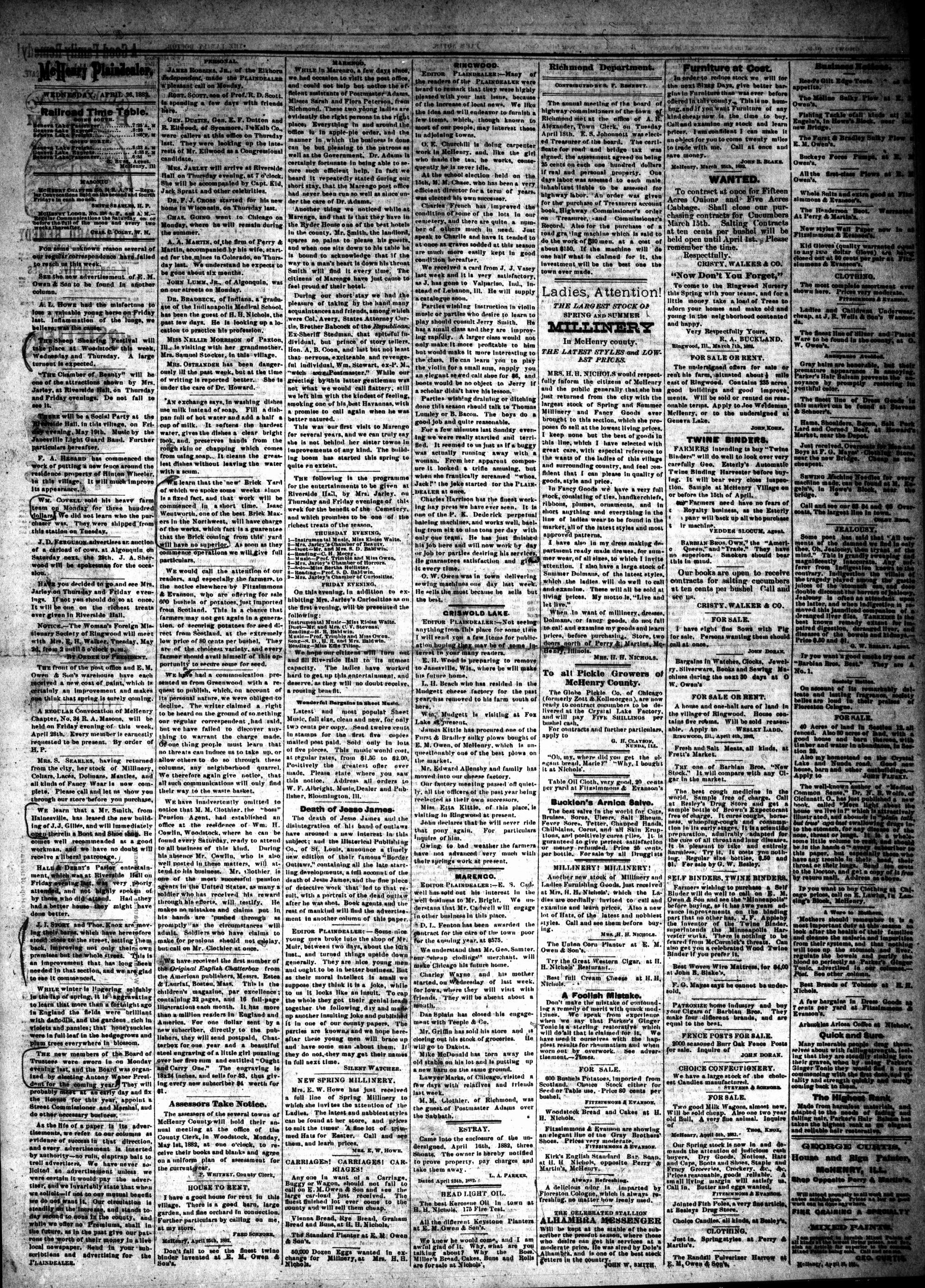 McHenry Plaindealer (McHenry, IL), 26 Apr 1882