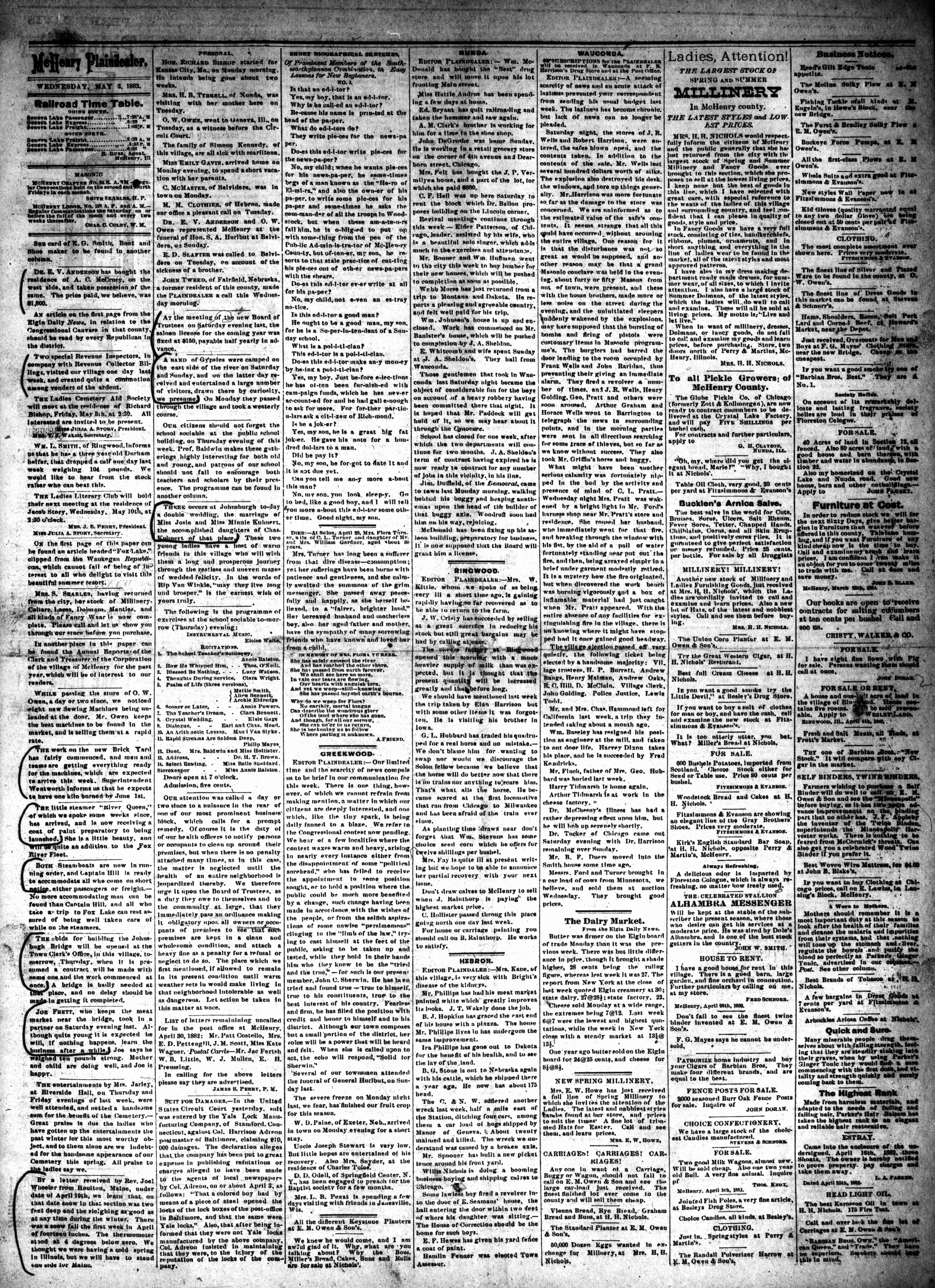 McHenry Plaindealer (McHenry, IL), 3 May 1882