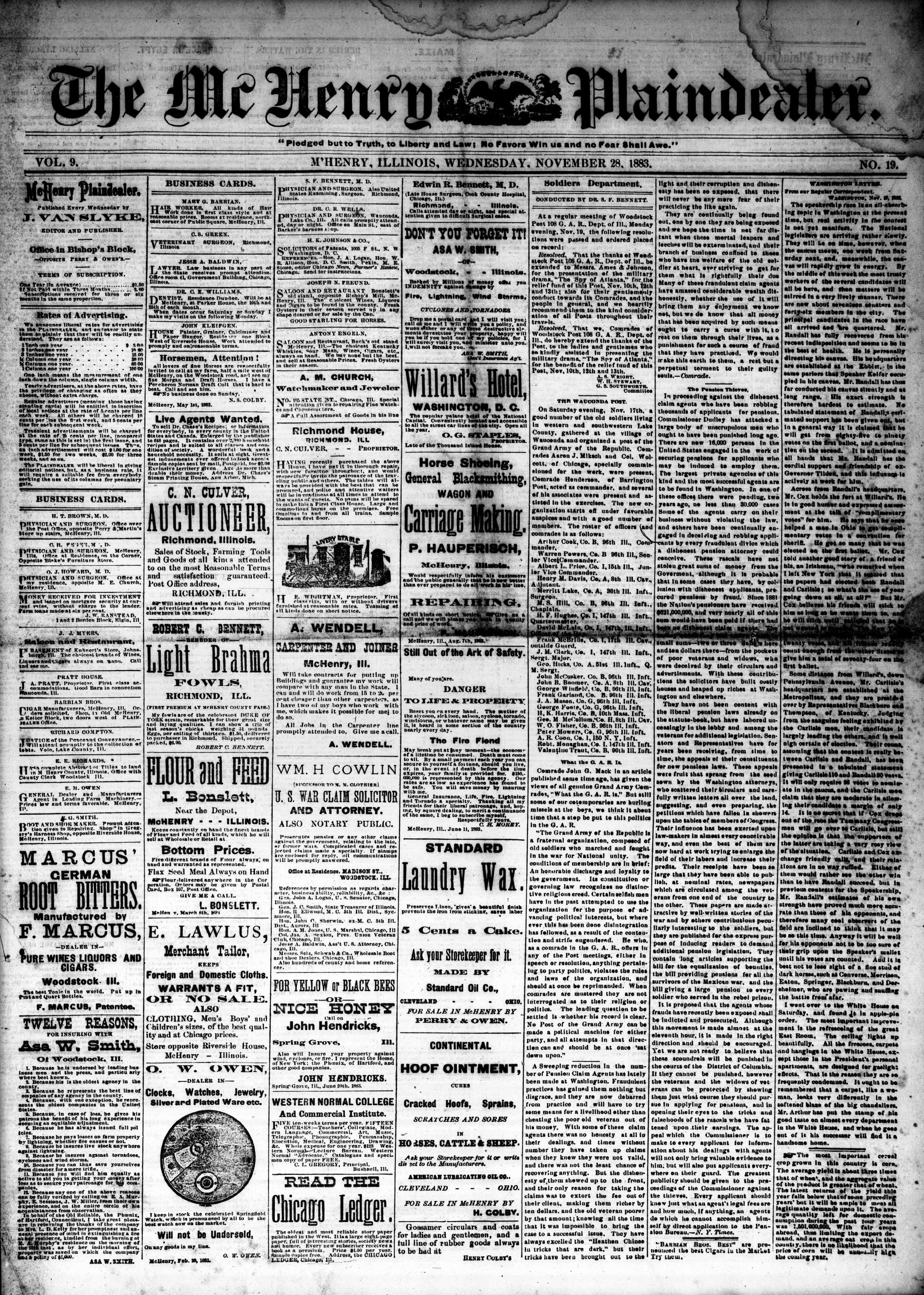 McHenry Plaindealer (McHenry, IL), 28 Nov 1883