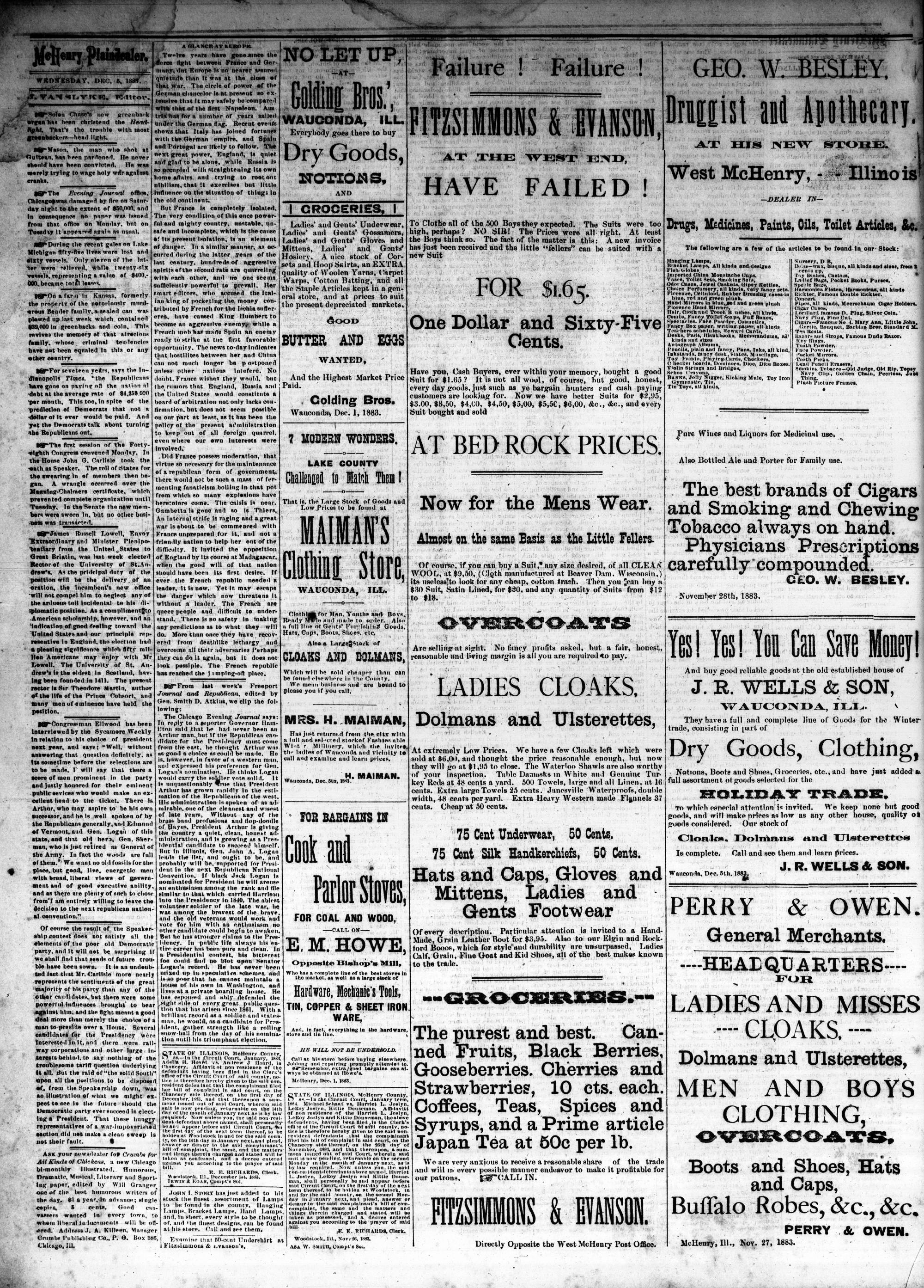 McHenry Plaindealer (McHenry, IL), 5 Dec 1883