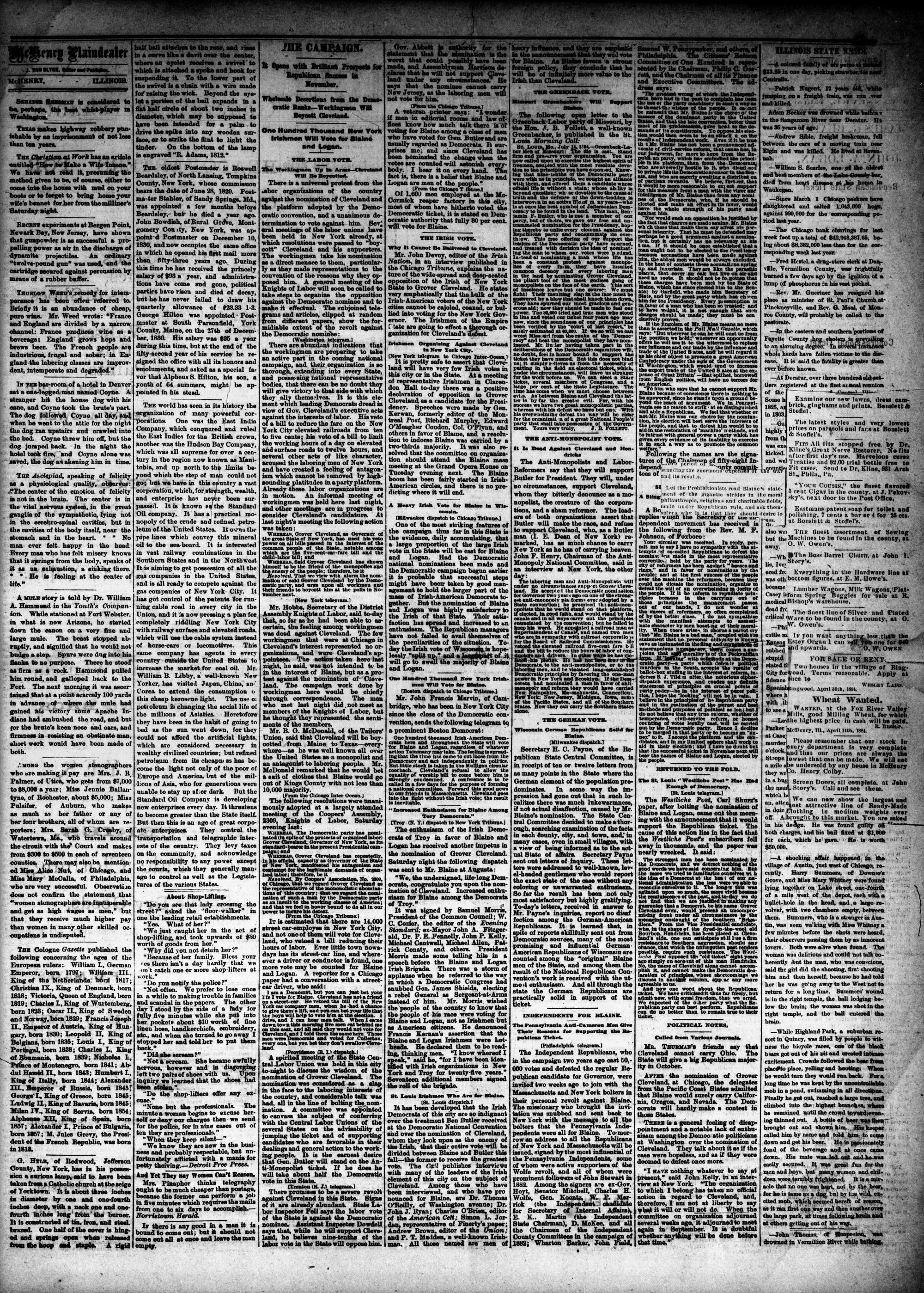 McHenry Plaindealer (McHenry, IL), 23 Jul 1884