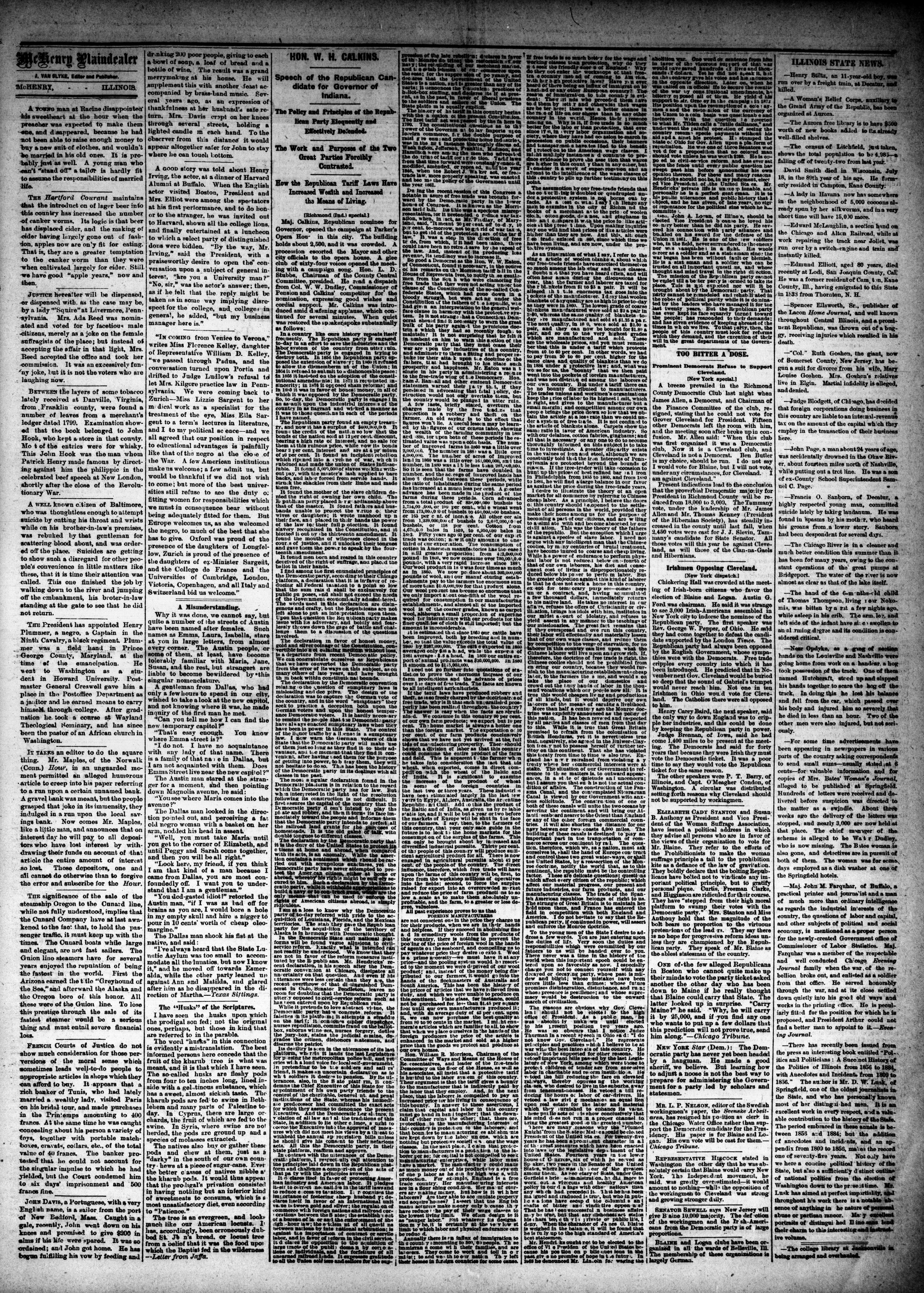 McHenry Plaindealer (McHenry, IL), 13 Aug 1884