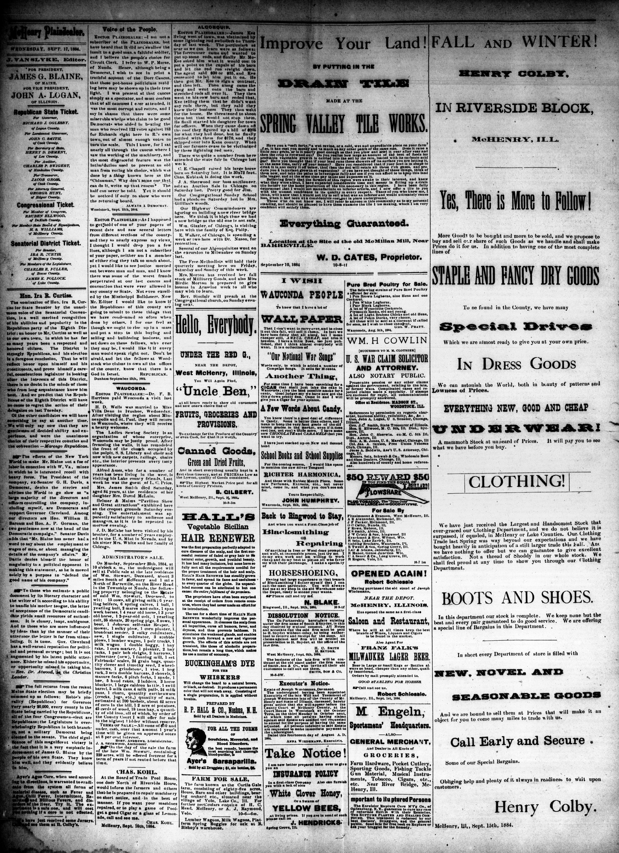 McHenry Plaindealer (McHenry, IL), 17 Sep 1884
