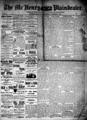 McHenry Plaindealer (McHenry, IL), 5 Nov 1884