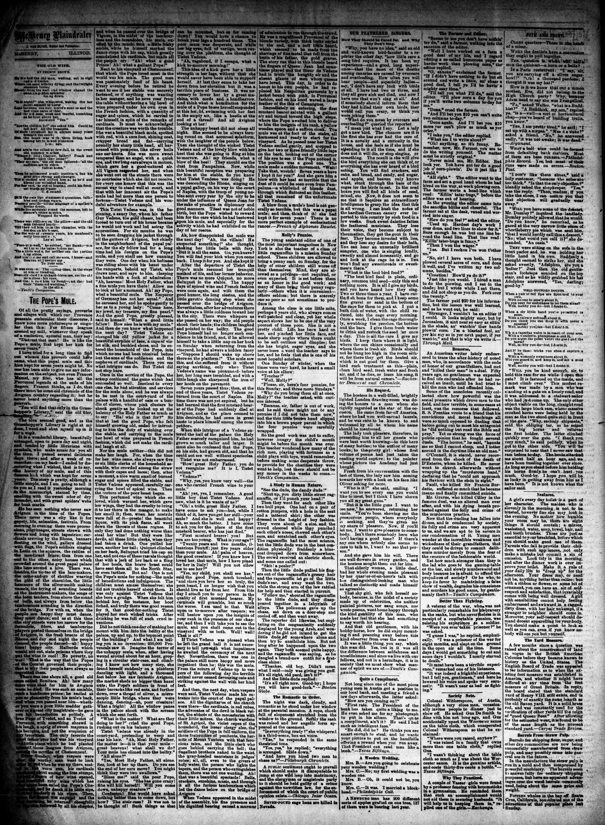 McHenry Plaindealer (McHenry, IL), 12 Nov 1884