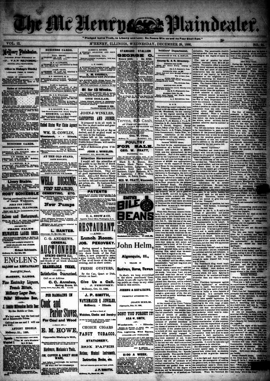 McHenry Plaindealer (McHenry, IL), 29 Dec 1886