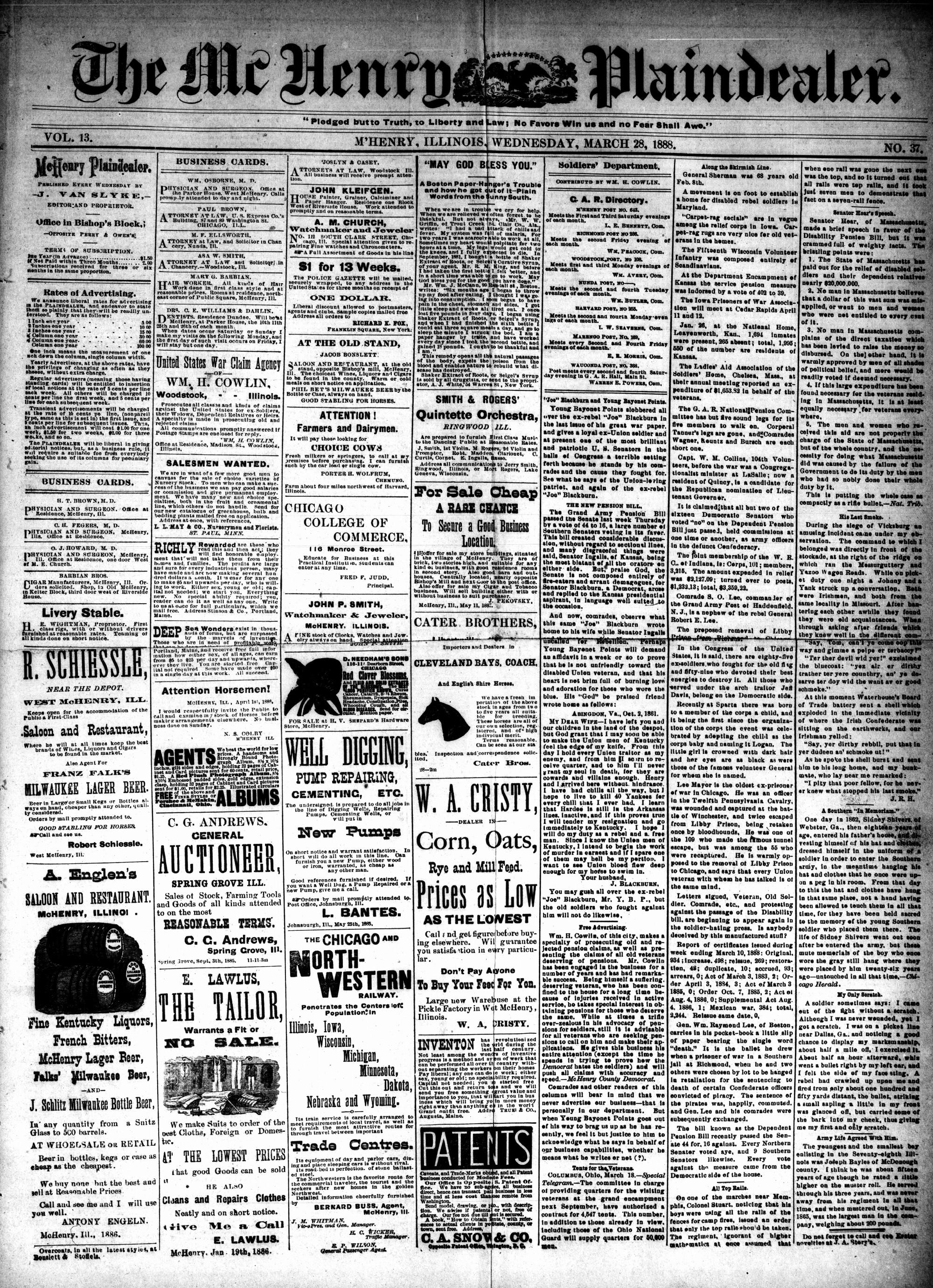 McHenry Plaindealer (McHenry, IL), 28 Mar 1888