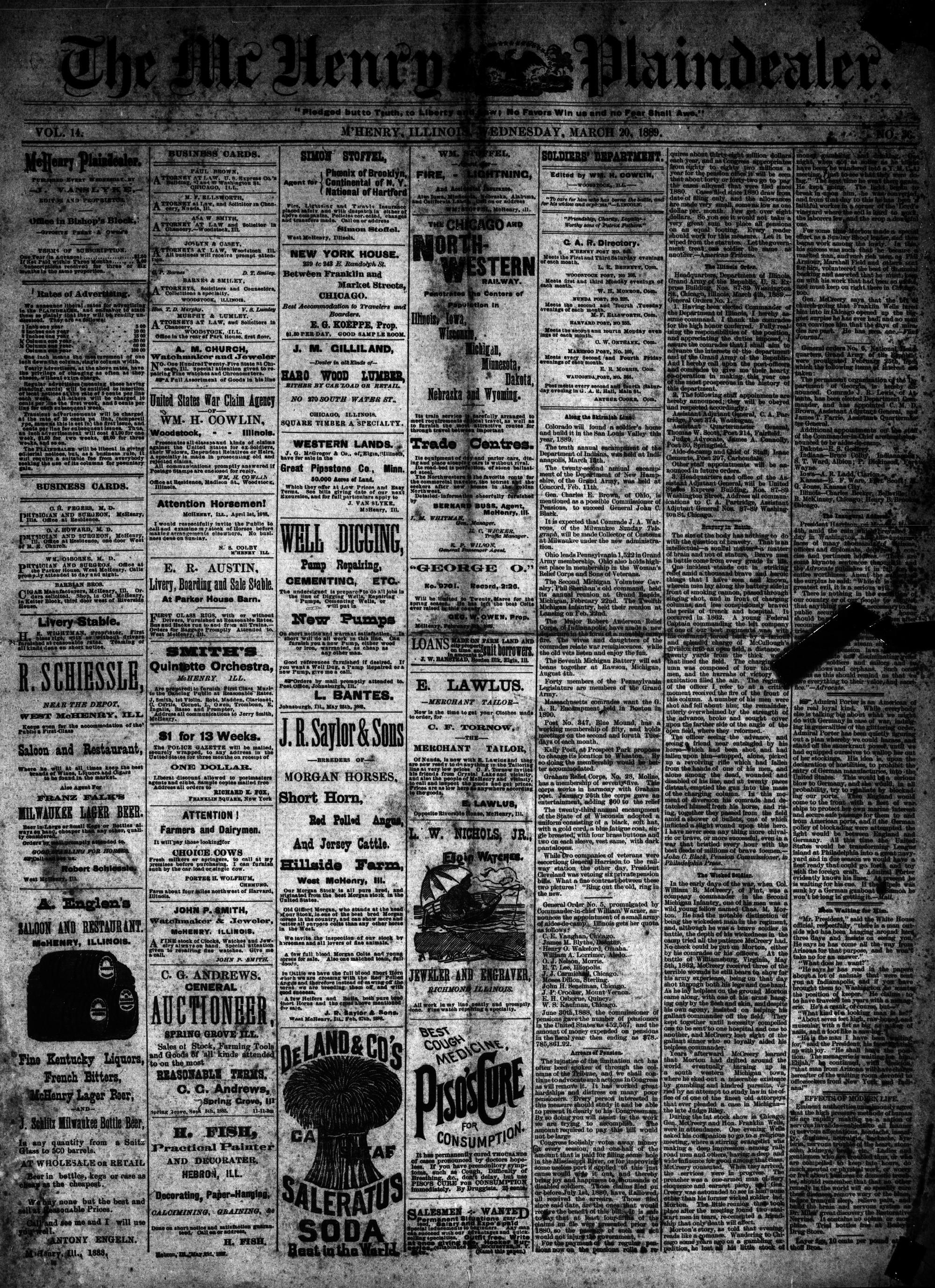 McHenry Plaindealer (McHenry, IL), 20 Mar 1889