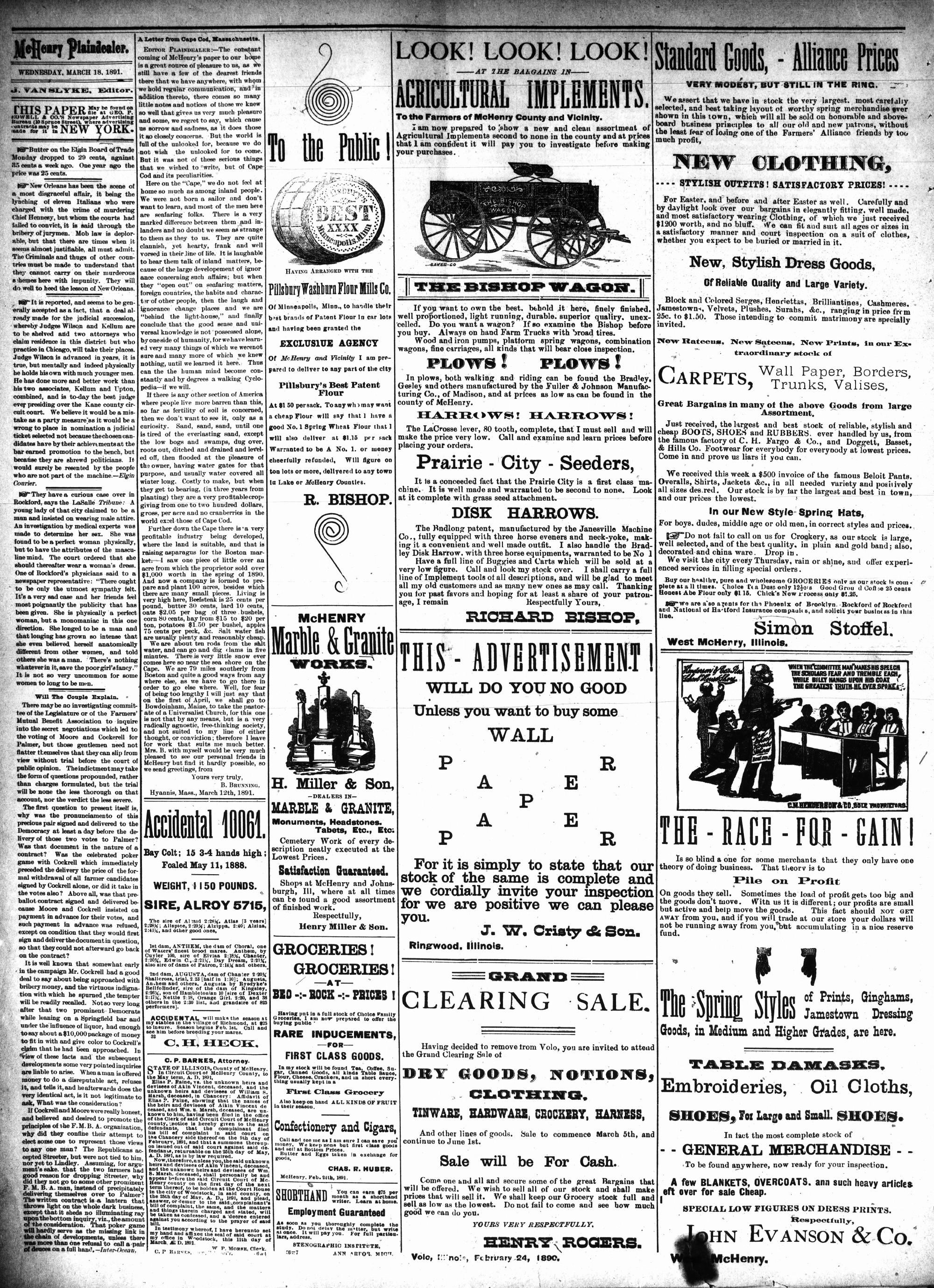 McHenry Plaindealer (McHenry, IL), 18 Mar 1891