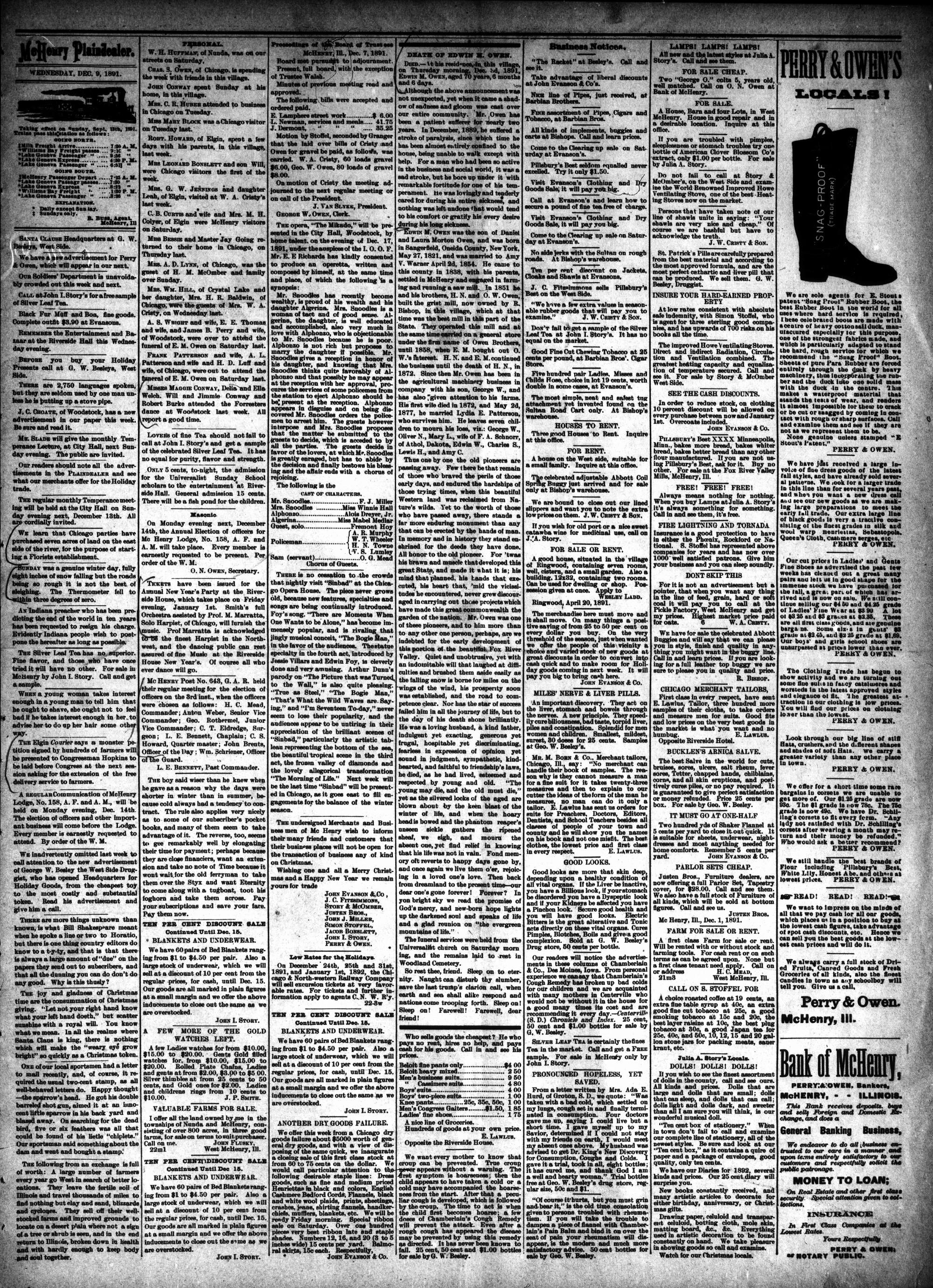 McHenry Plaindealer (McHenry, IL), 9 Dec 1891