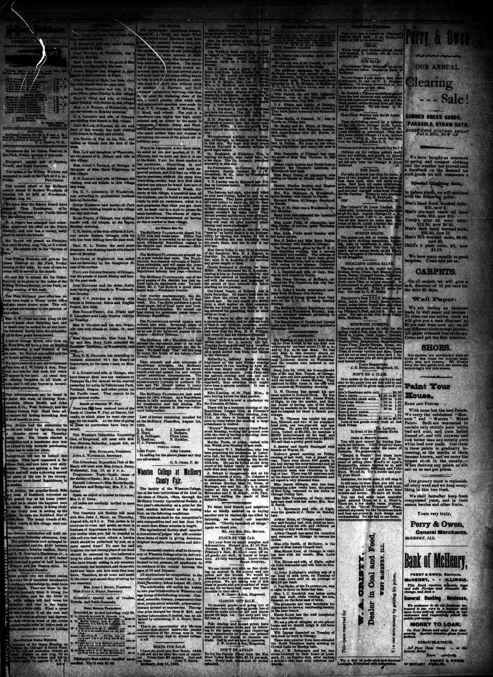 McHenry Plaindealer (McHenry, IL), 3 Aug 1892