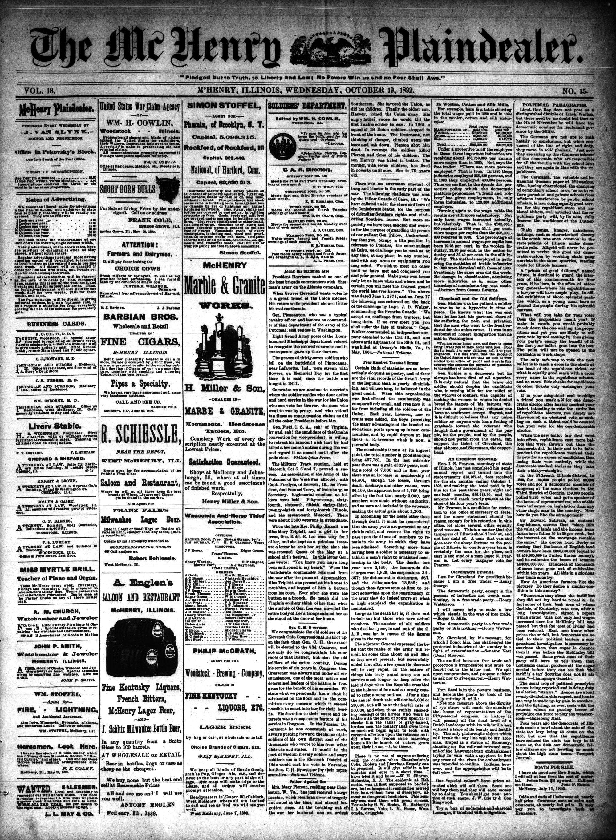 McHenry Plaindealer (McHenry, IL), 19 Oct 1892
