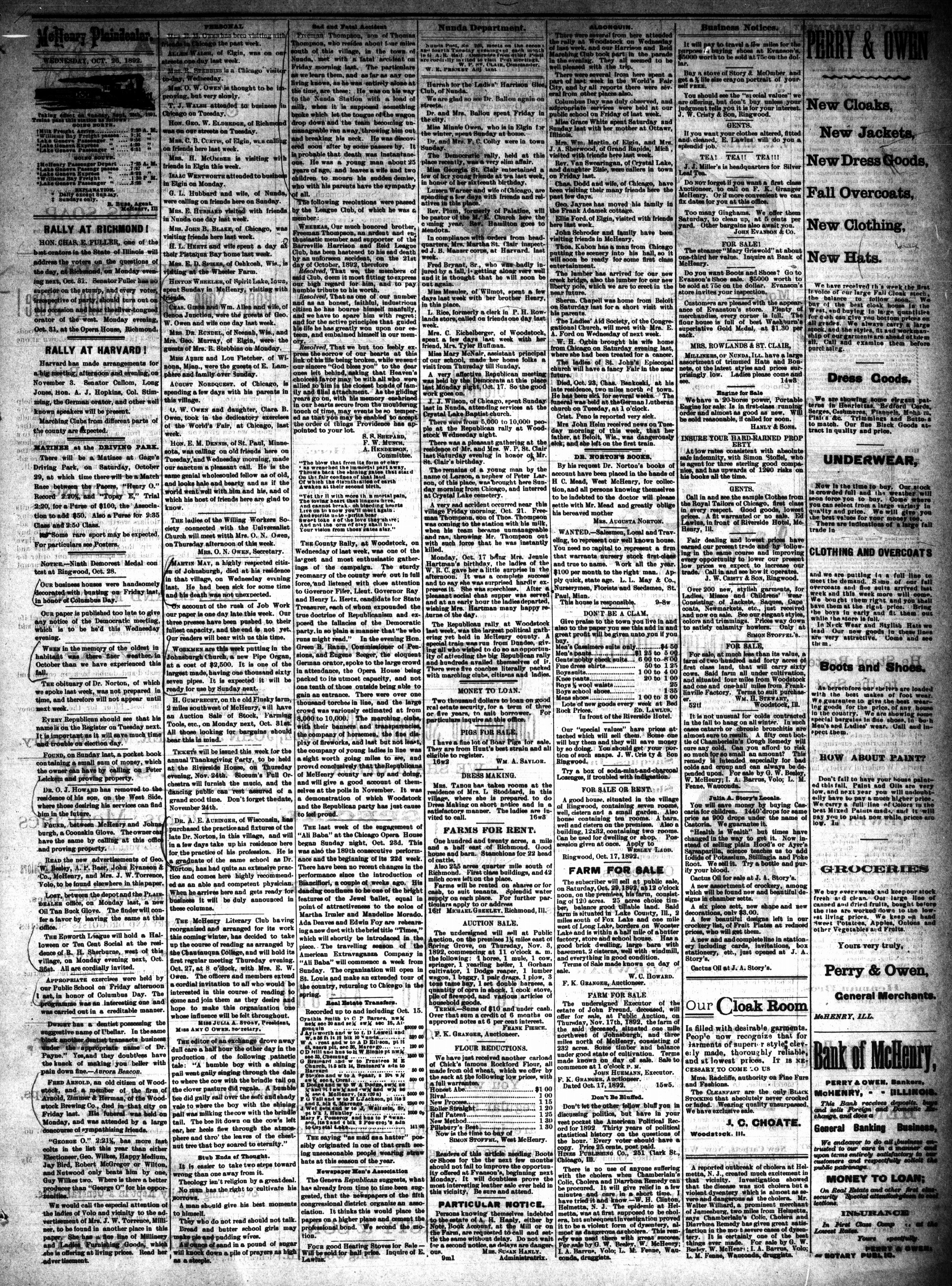 McHenry Plaindealer (McHenry, IL), 26 Oct 1892