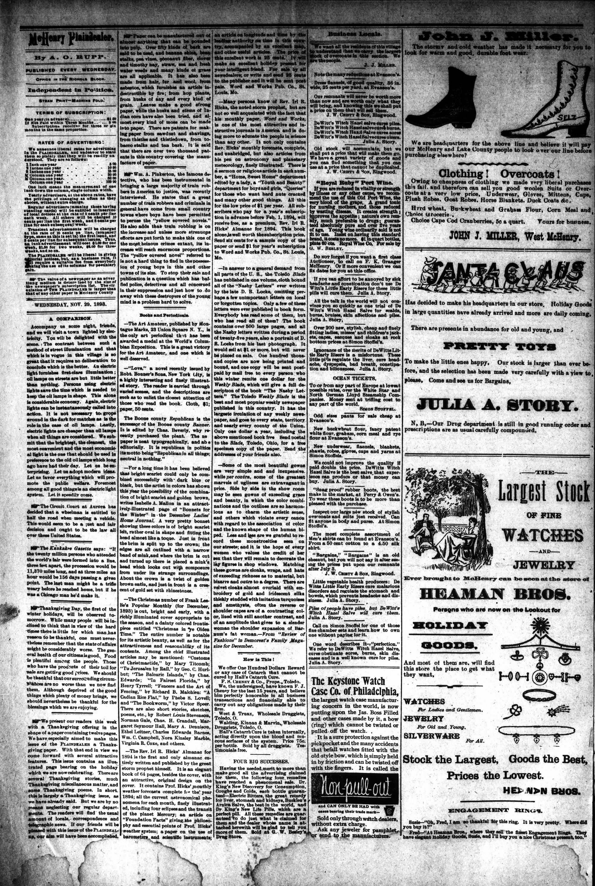 McHenry Plaindealer (McHenry, IL), 29 Nov 1893