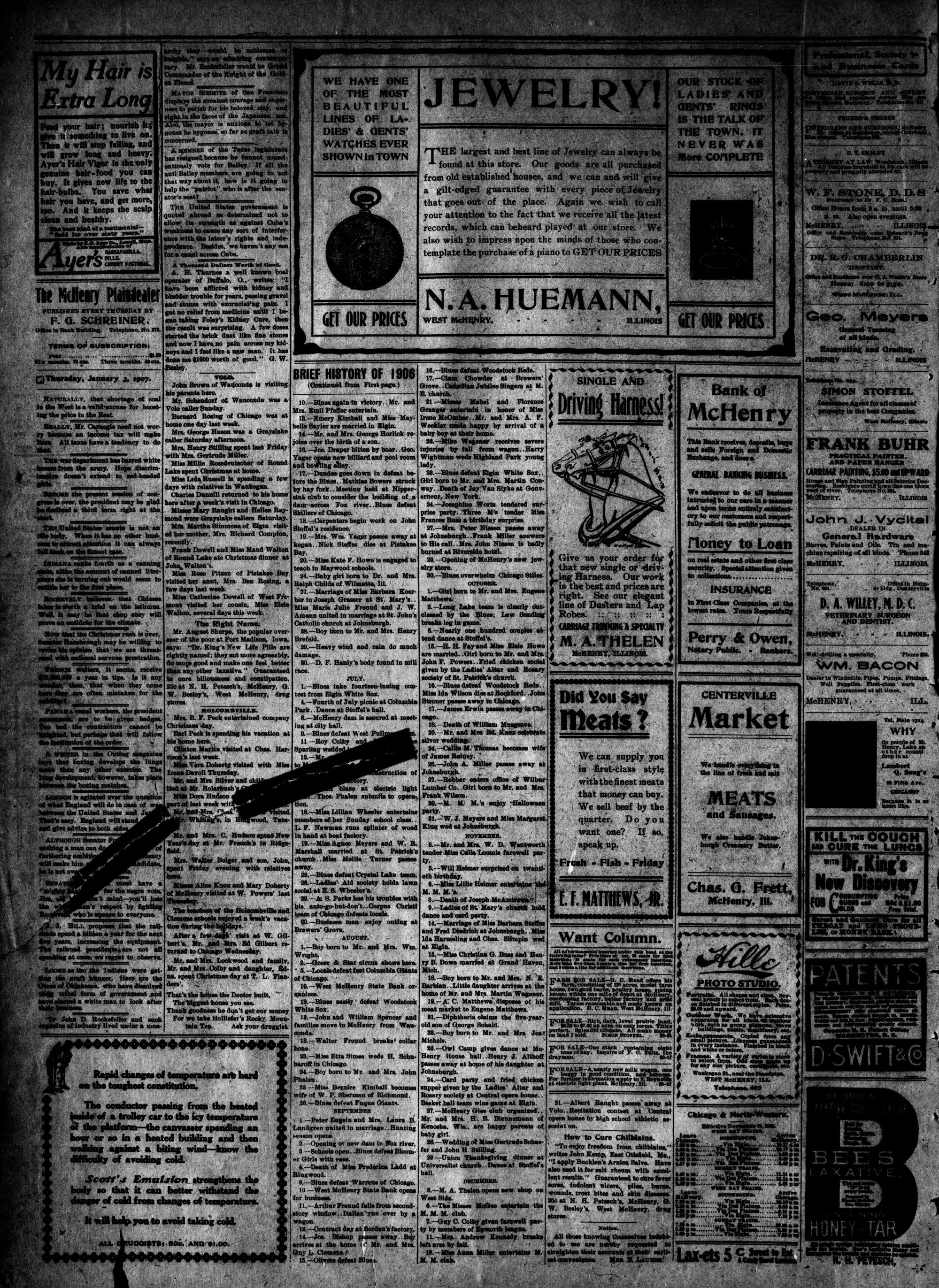 McHenry Plaindealer (McHenry, IL), 3 Jan 1907