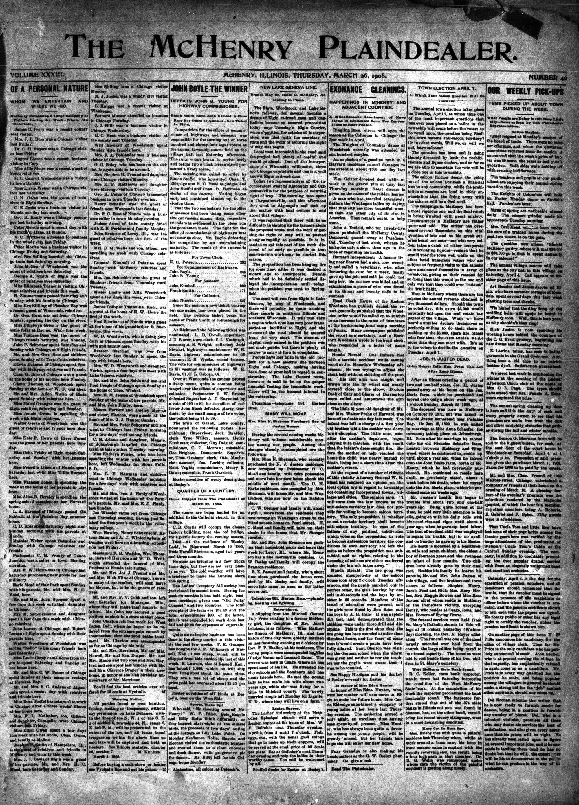 McHenry Plaindealer (McHenry, IL), 26 Mar 1908