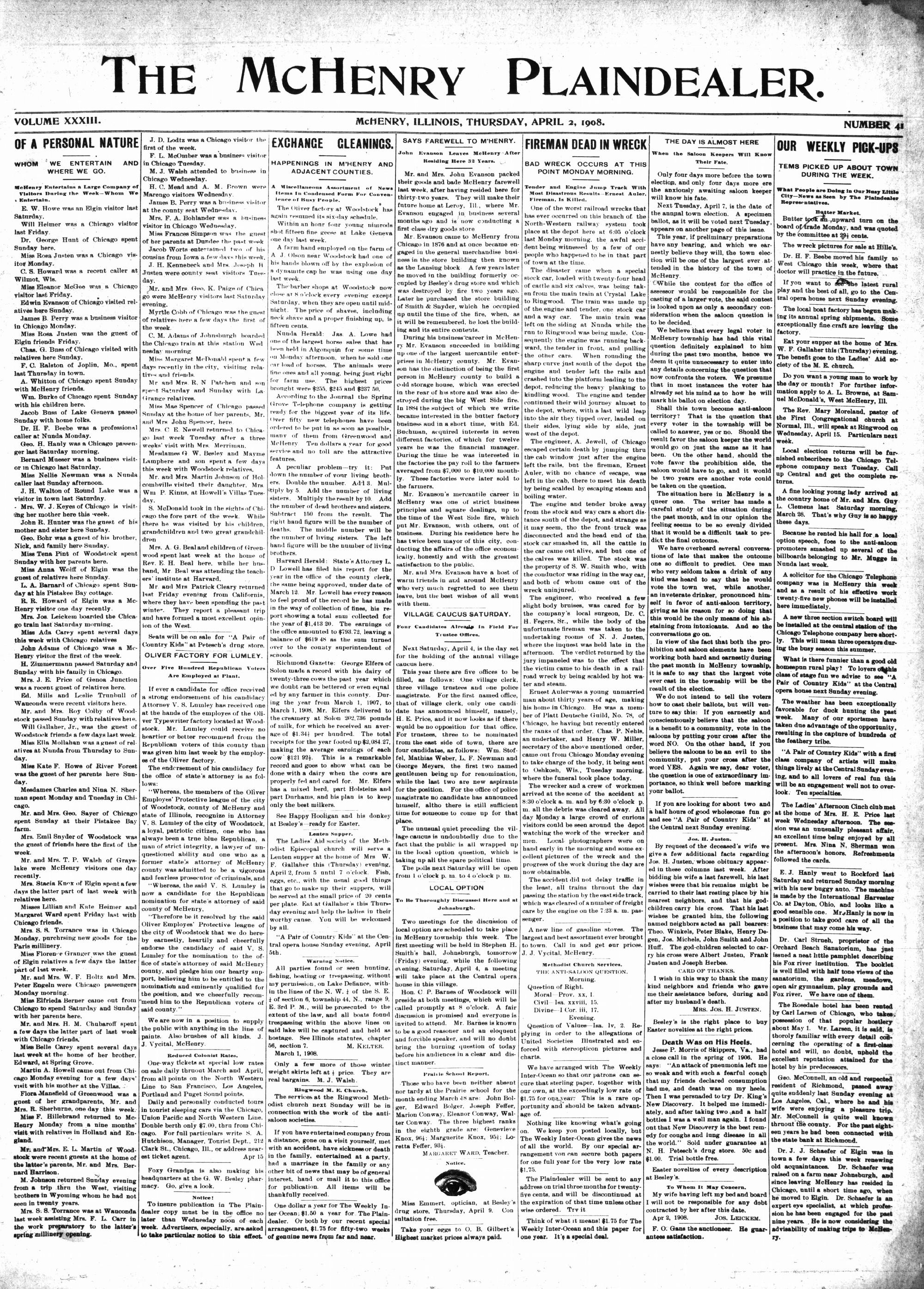 McHenry Plaindealer (McHenry, IL), 2 Apr 1908
