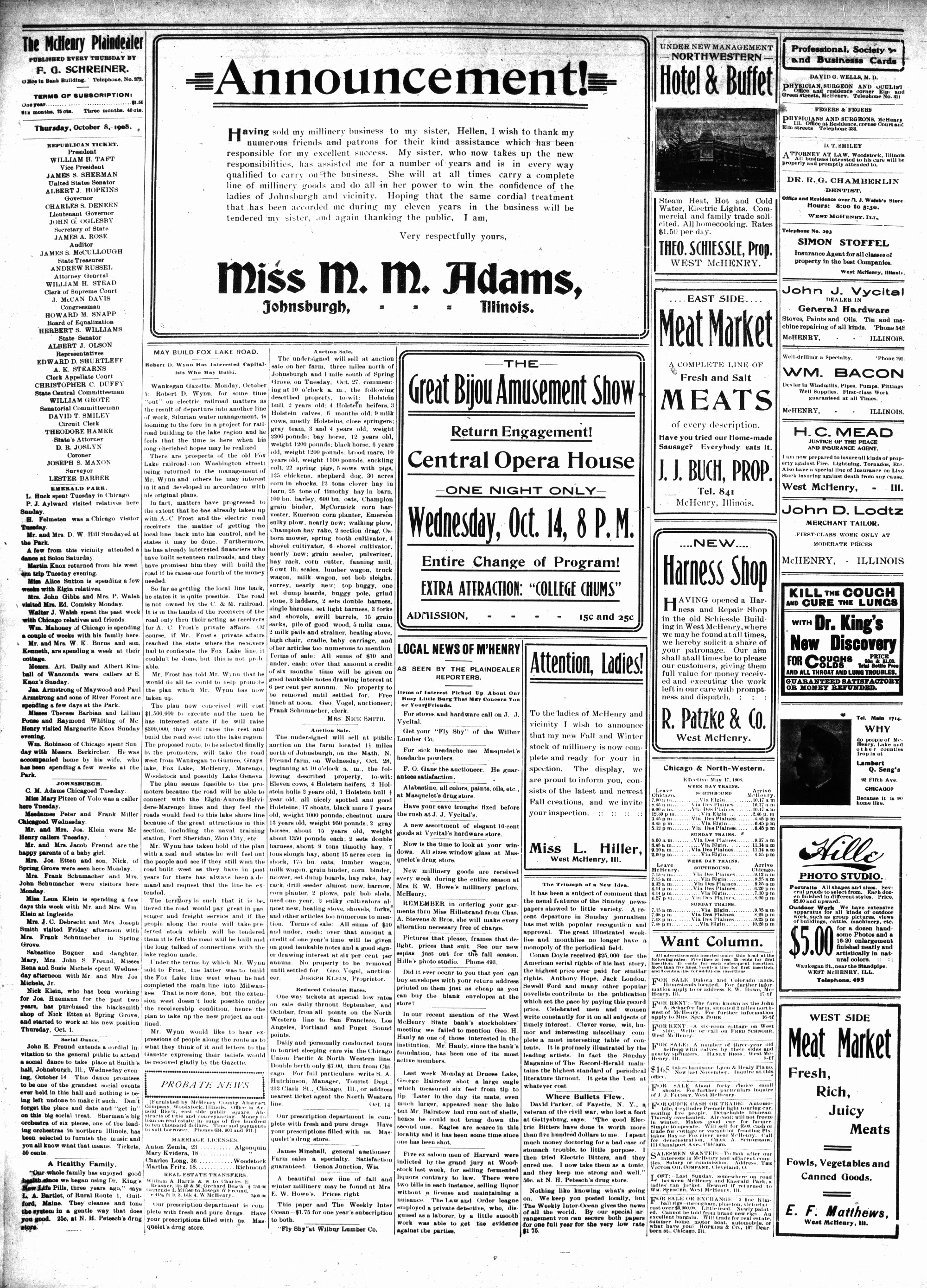 McHenry Plaindealer (McHenry, IL), 8 Oct 1908
