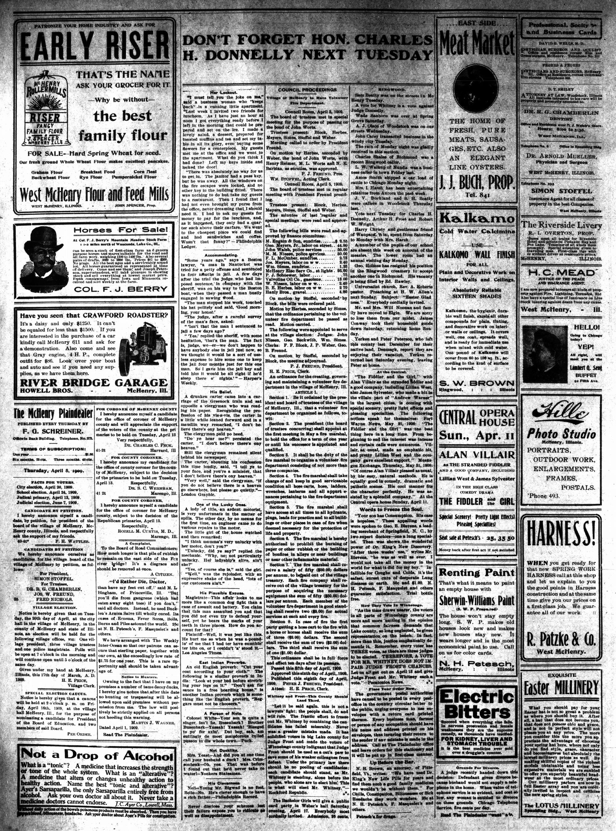 McHenry Plaindealer (McHenry, IL), 8 Apr 1909