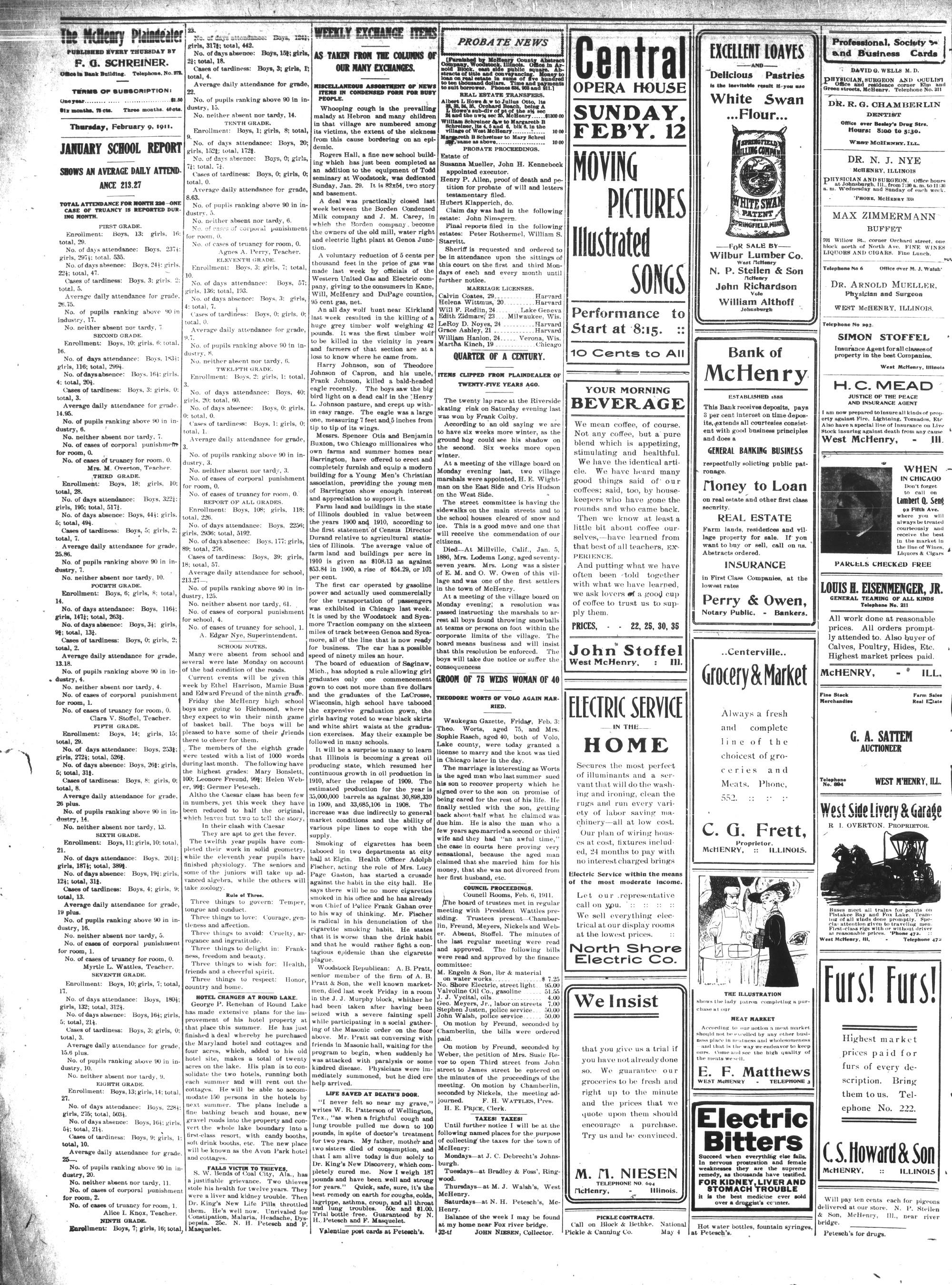 McHenry Plaindealer (McHenry, IL), 9 Feb 1911