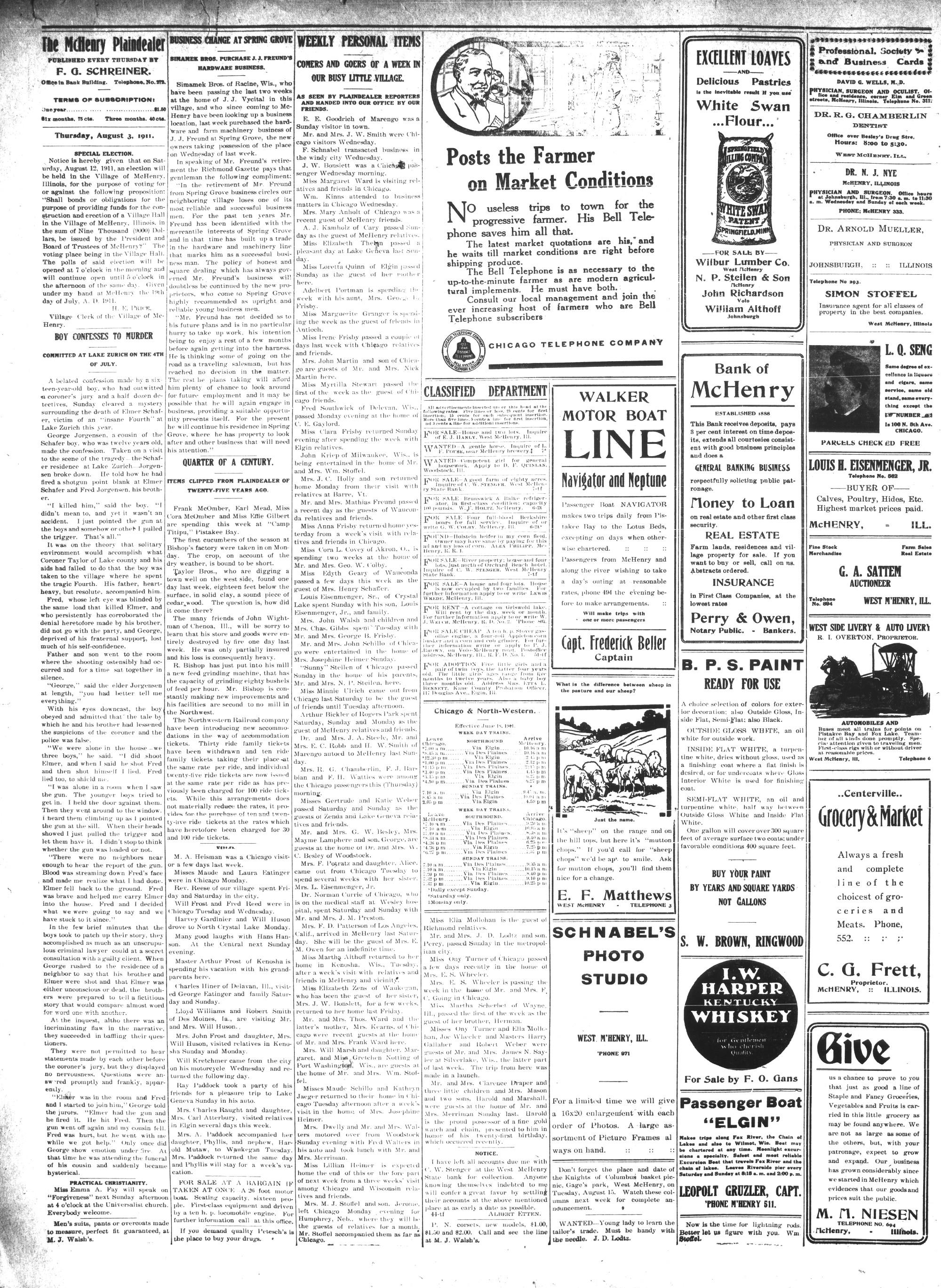 McHenry Plaindealer (McHenry, IL), 3 Aug 1911