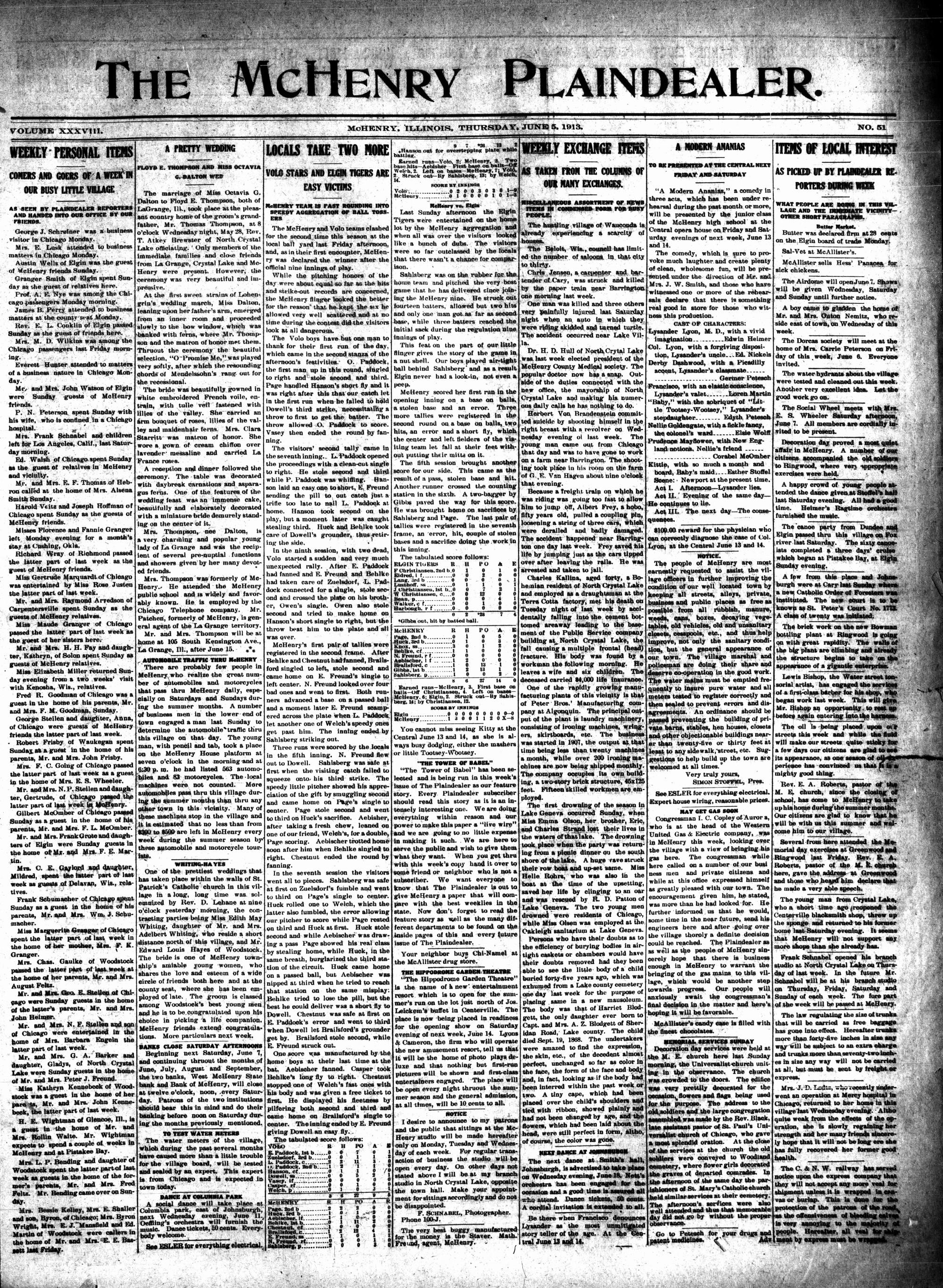 McHenry Plaindealer (McHenry, IL), 5 Jun 1913
