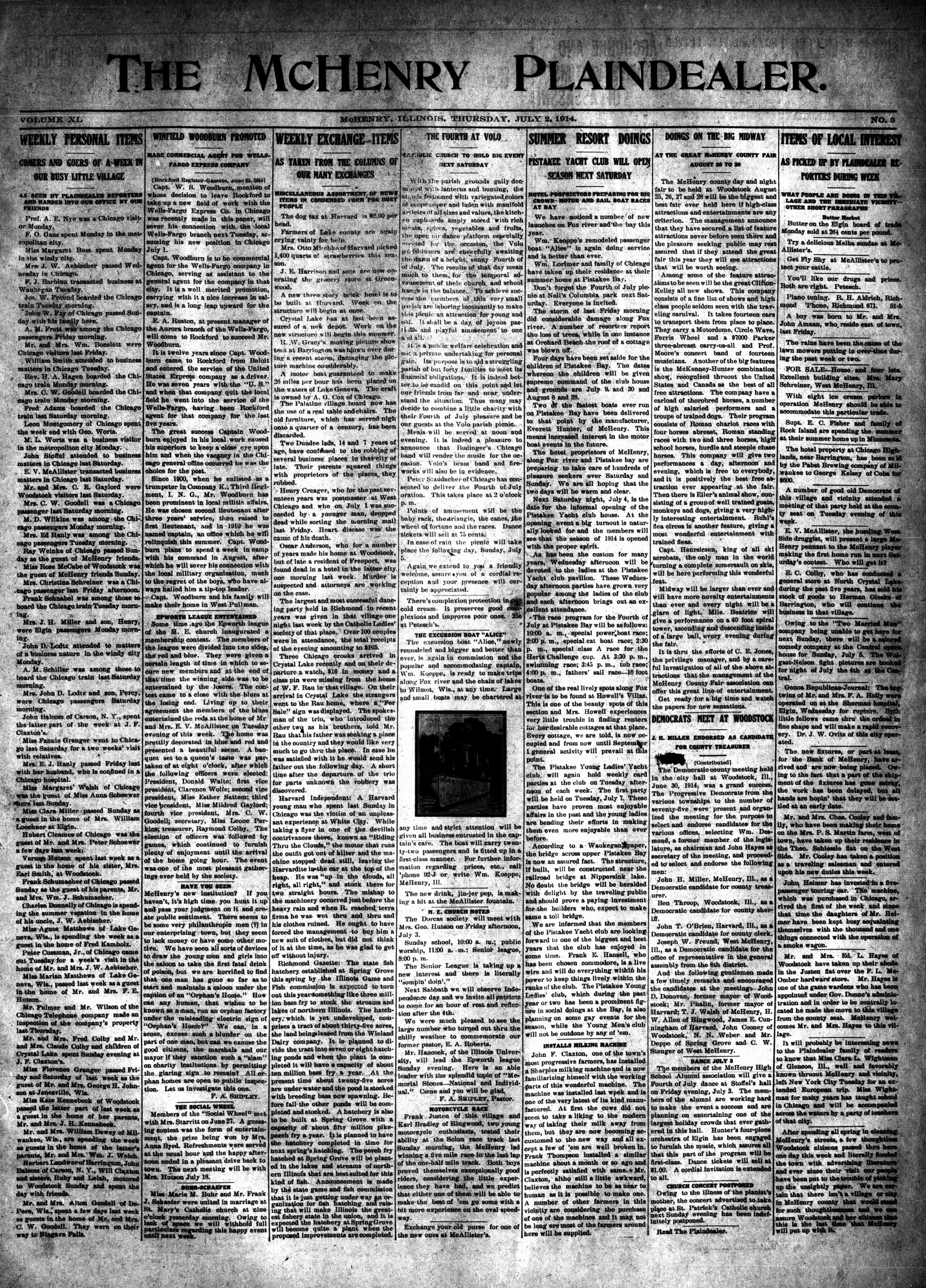McHenry Plaindealer (McHenry, IL), 2 Jul 1914
