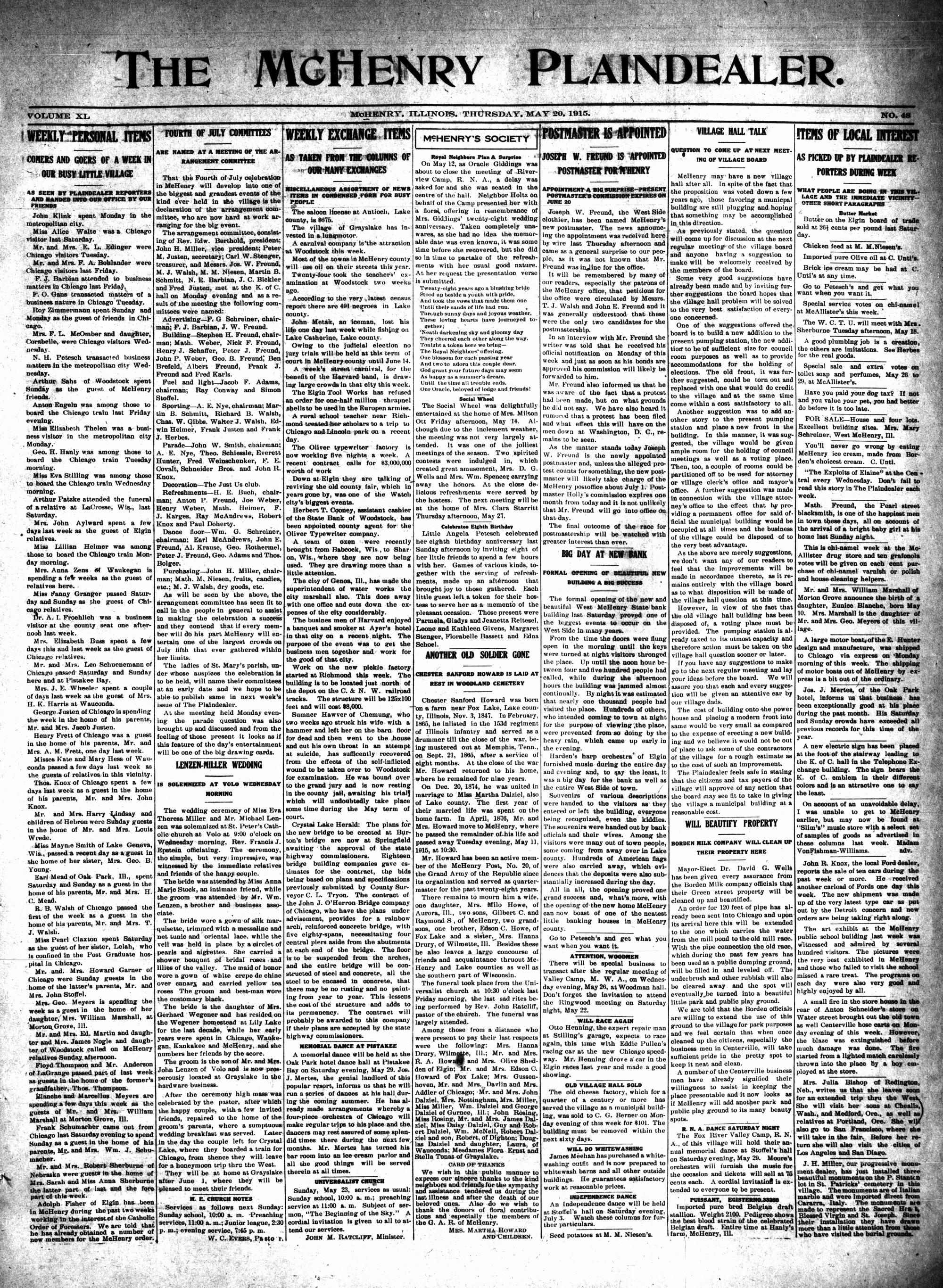 McHenry Plaindealer (McHenry, IL), 20 May 1915