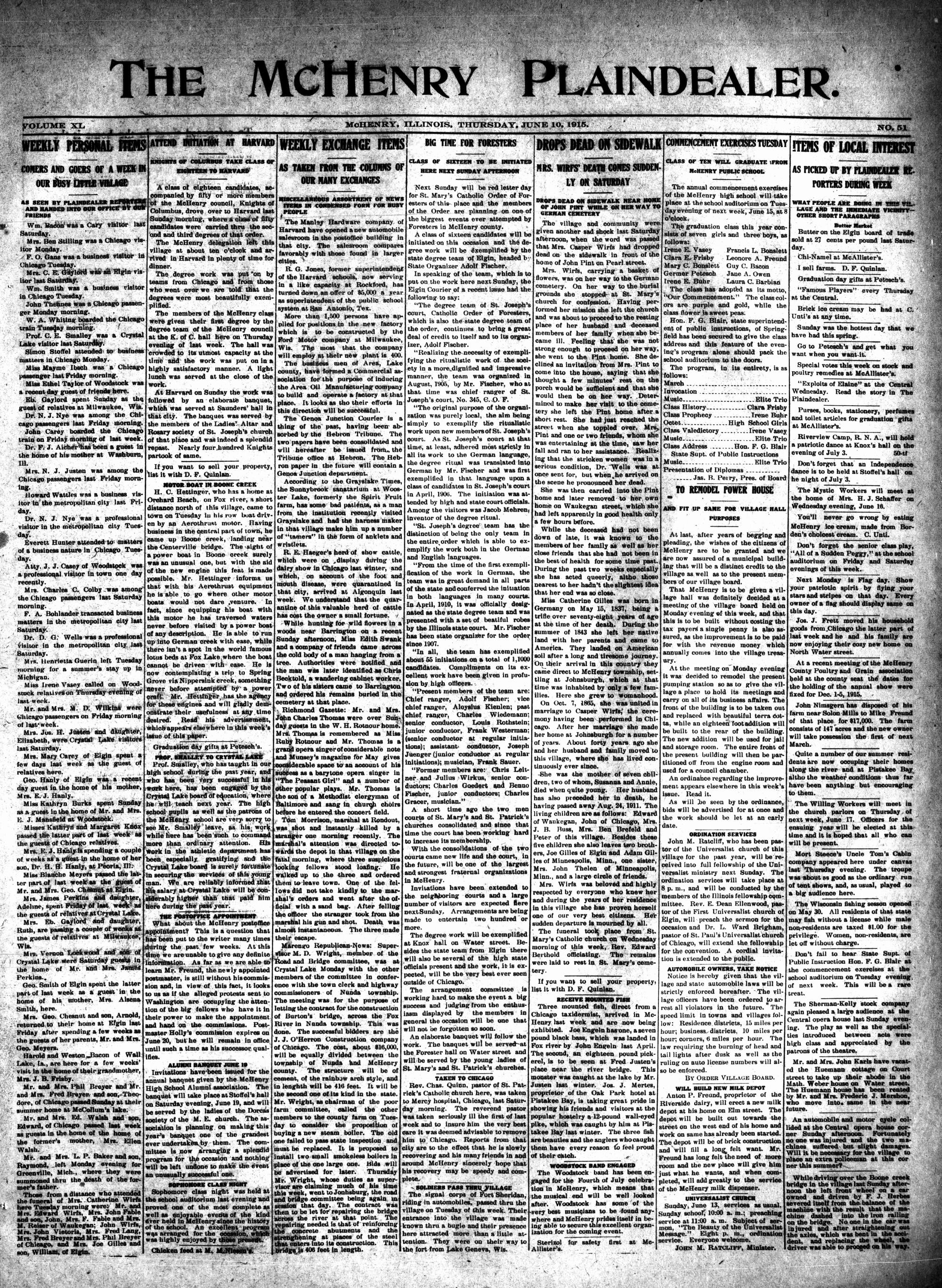 McHenry Plaindealer (McHenry, IL), 10 Jun 1915