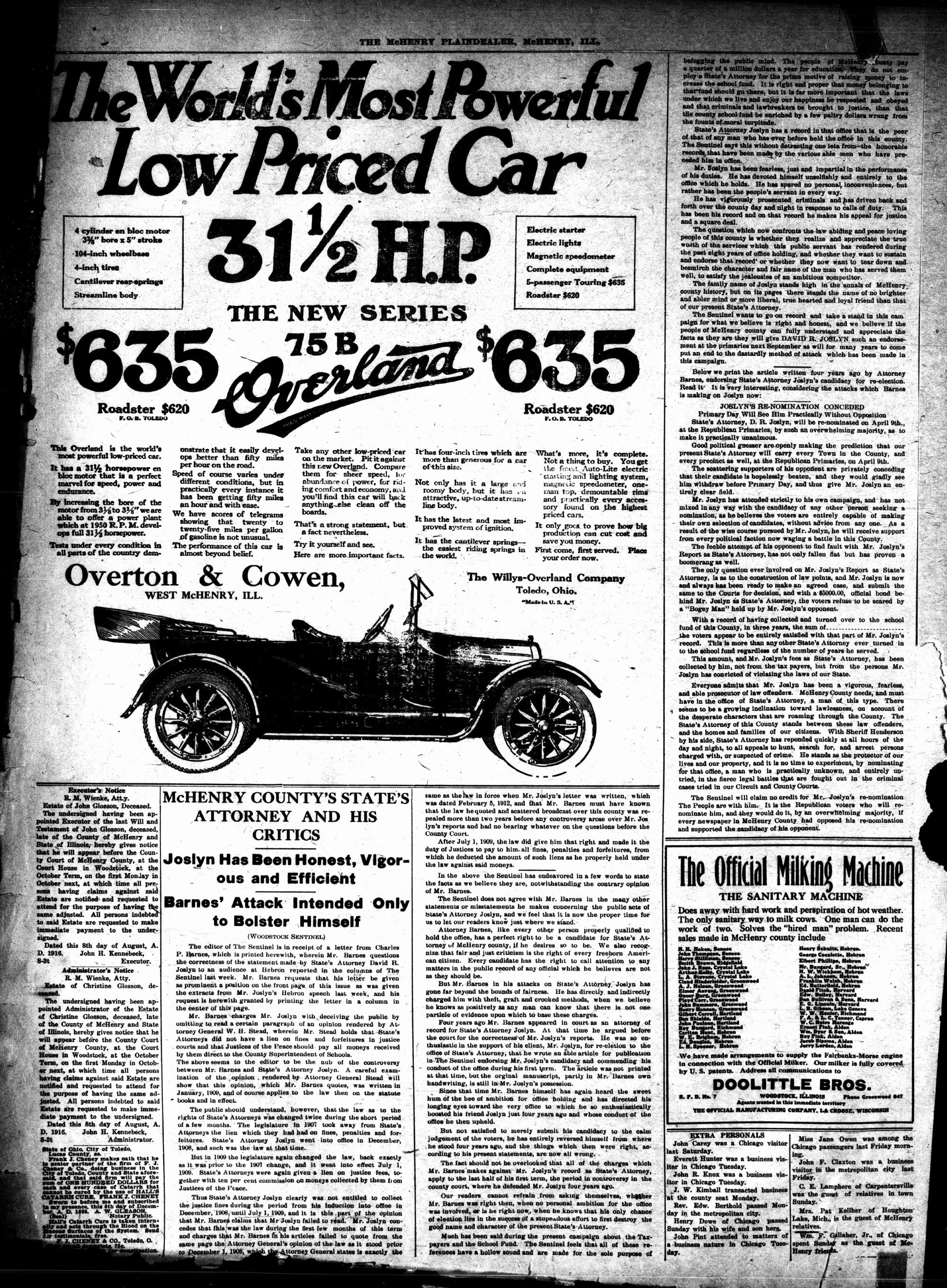 McHenry Plaindealer (McHenry, IL), 17 Aug 1916